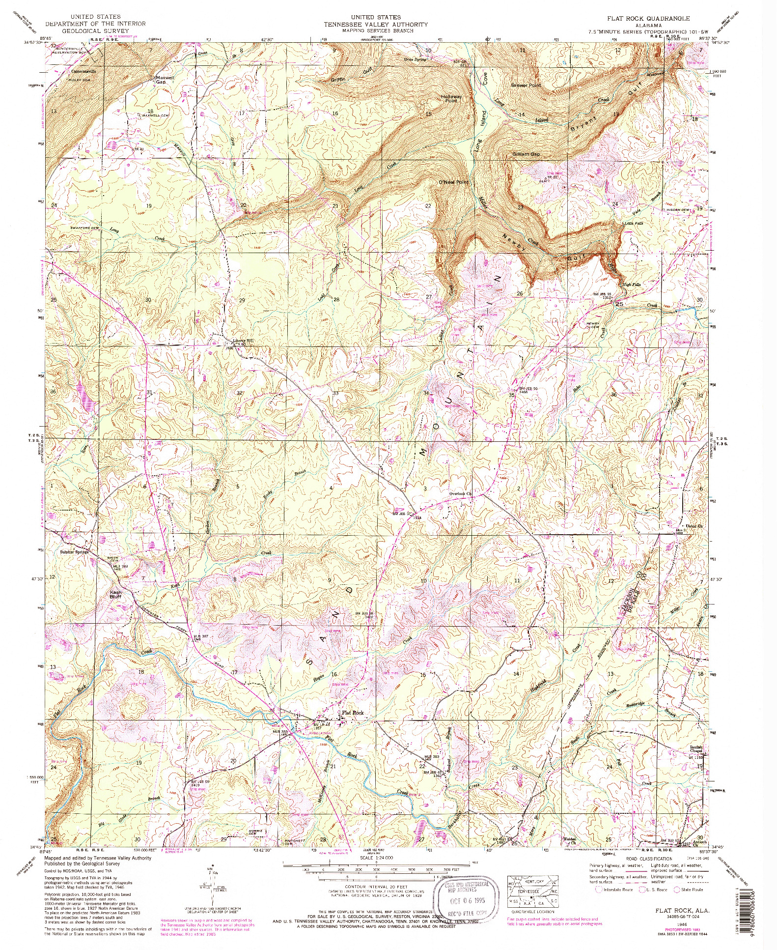 USGS 1:24000-SCALE QUADRANGLE FOR FLAT ROCK, AL 1946