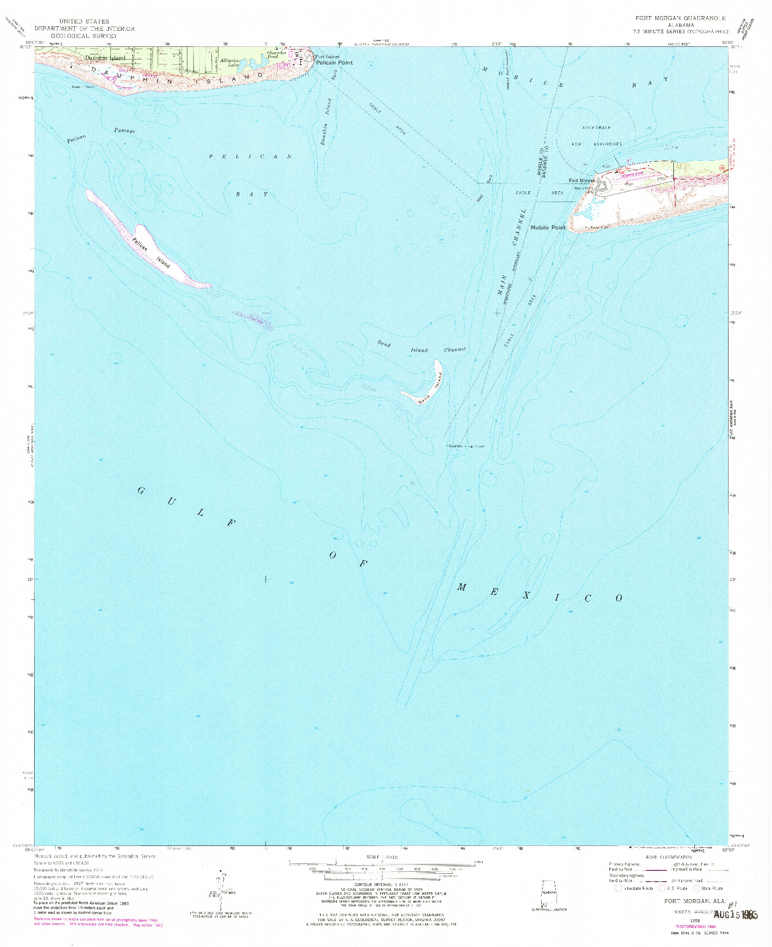 USGS 1:24000-SCALE QUADRANGLE FOR FORT MORGAN, AL 1958