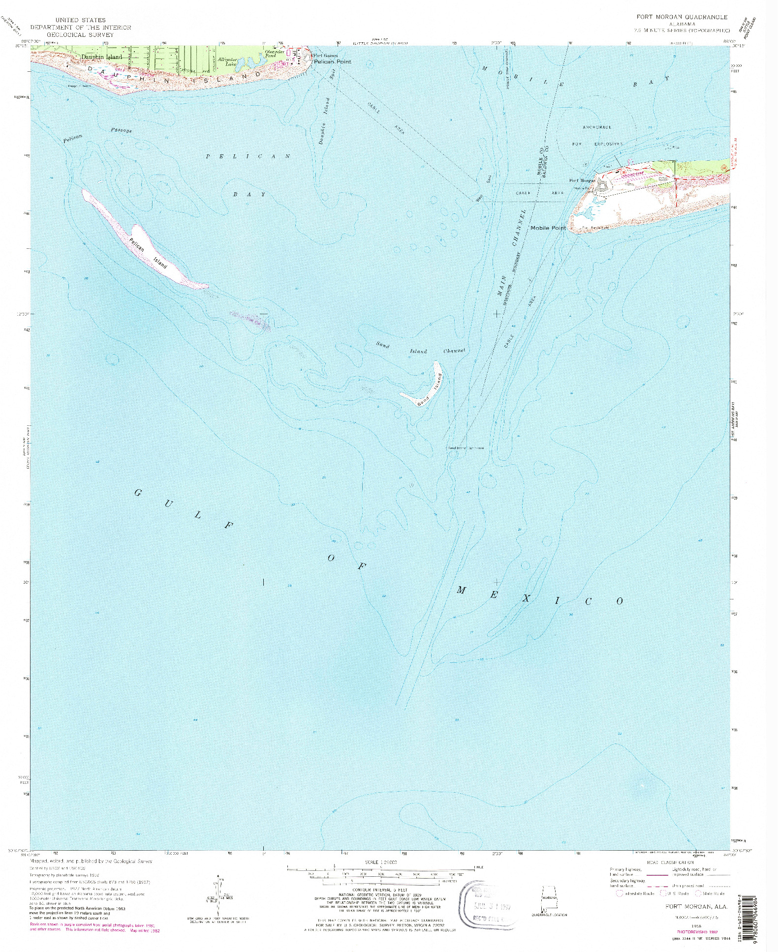 USGS 1:24000-SCALE QUADRANGLE FOR FORT MORGAN, AL 1958