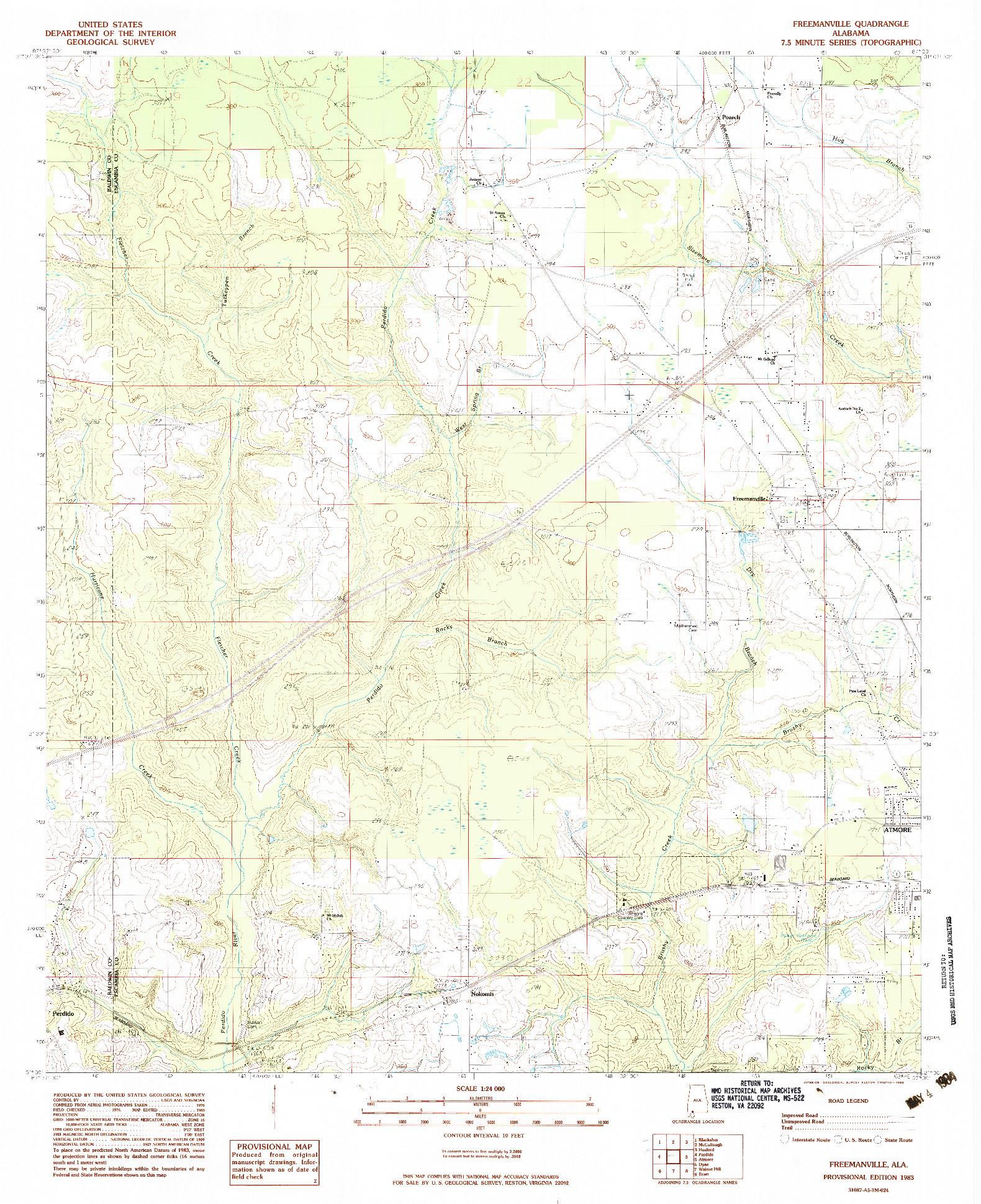 USGS 1:24000-SCALE QUADRANGLE FOR FREEMANVILLE, AL 1983