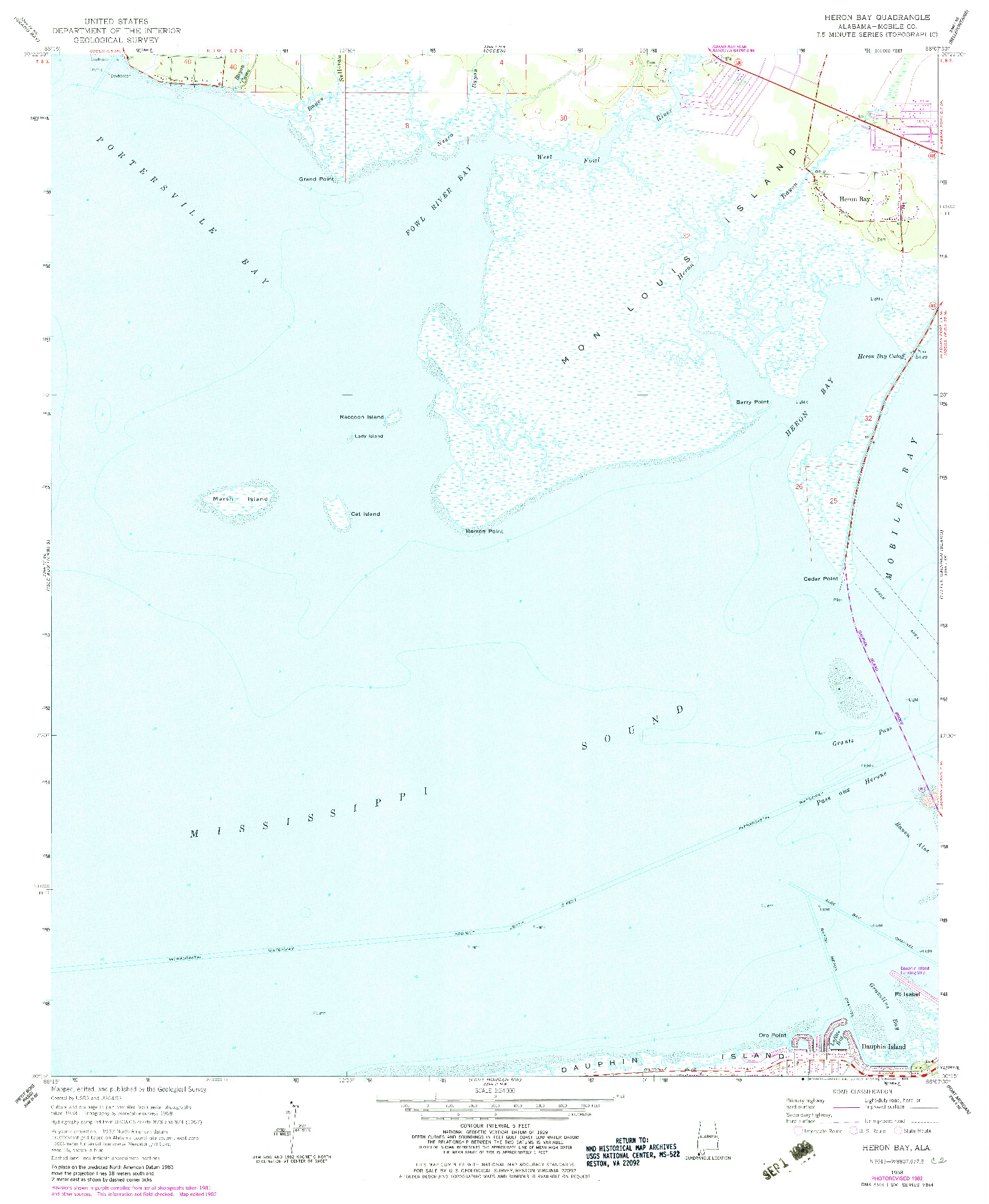 USGS 1:24000-SCALE QUADRANGLE FOR HERON BAY, AL 1958