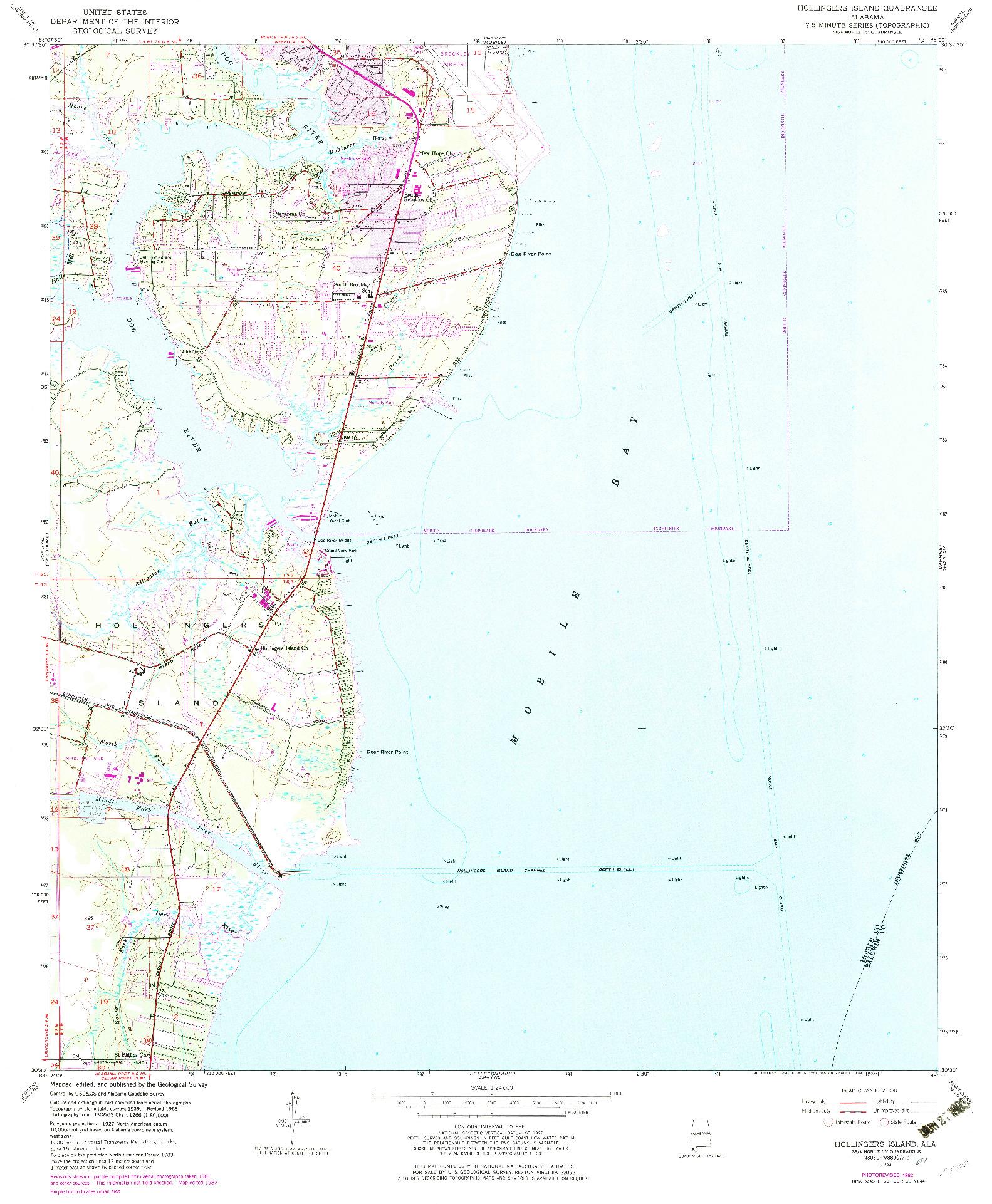 USGS 1:24000-SCALE QUADRANGLE FOR HOLLINGERS ISLAND, AL 1953