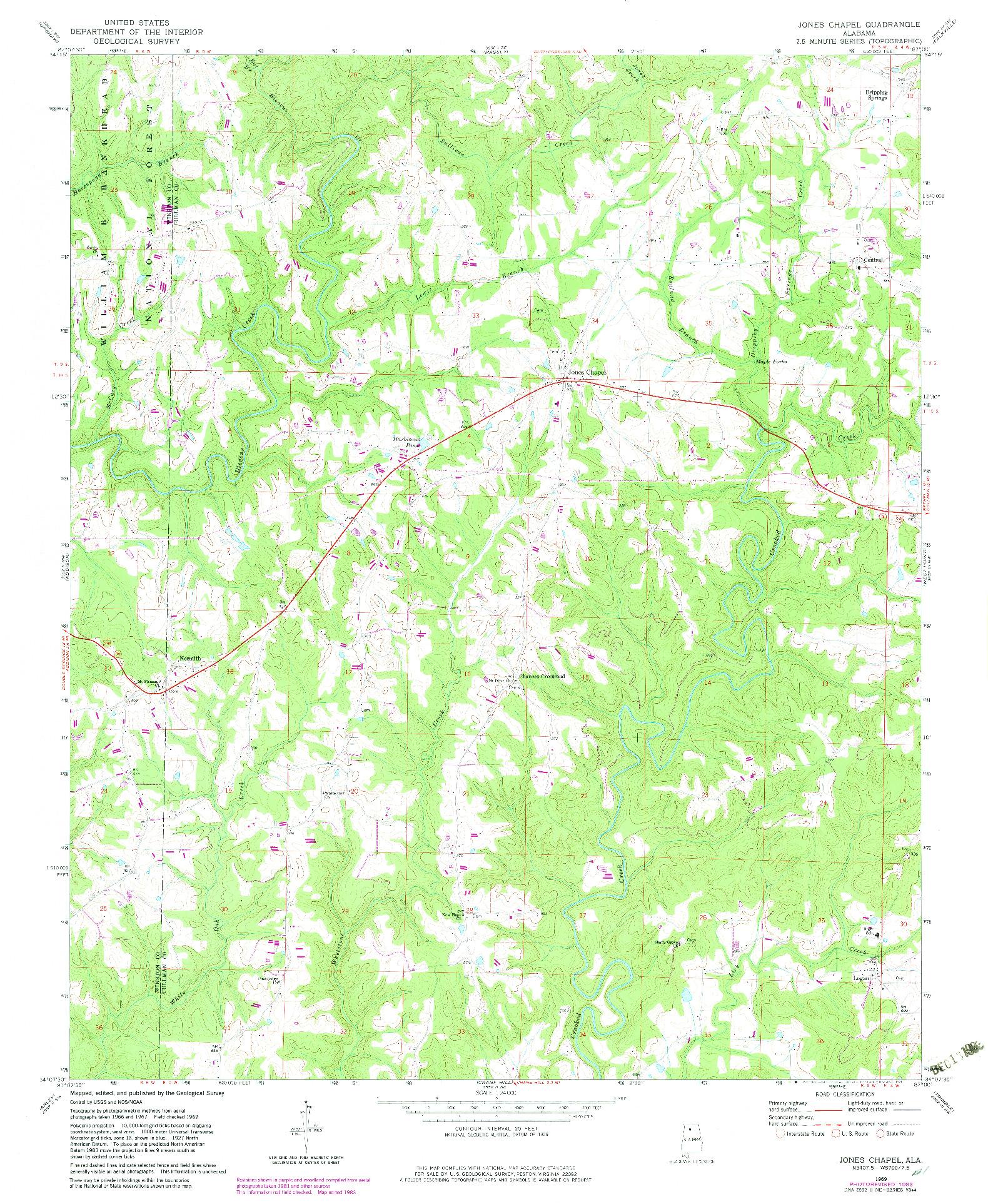 USGS 1:24000-SCALE QUADRANGLE FOR JONES CHAPEL, AL 1969