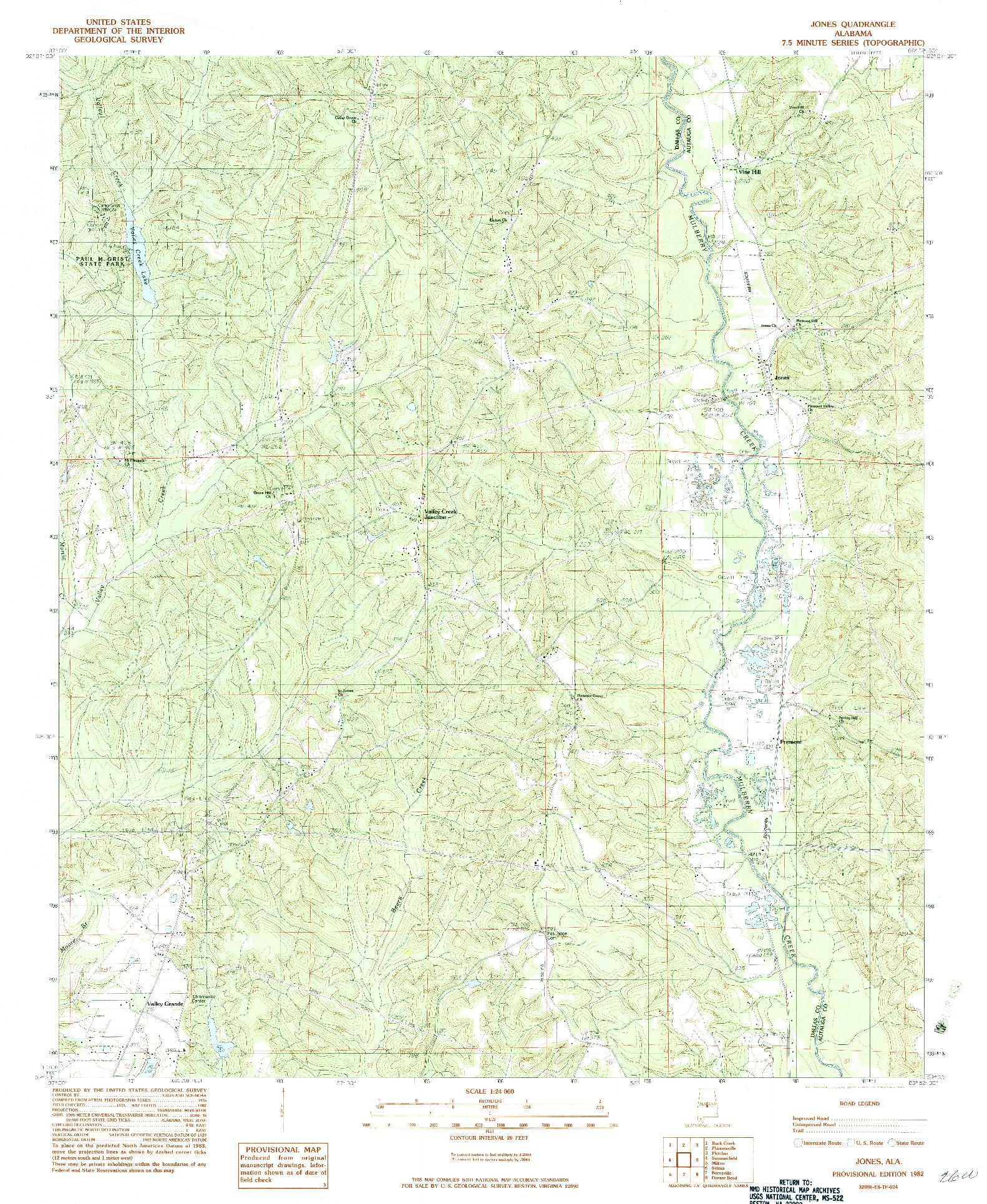 USGS 1:24000-SCALE QUADRANGLE FOR JONES, AL 1982