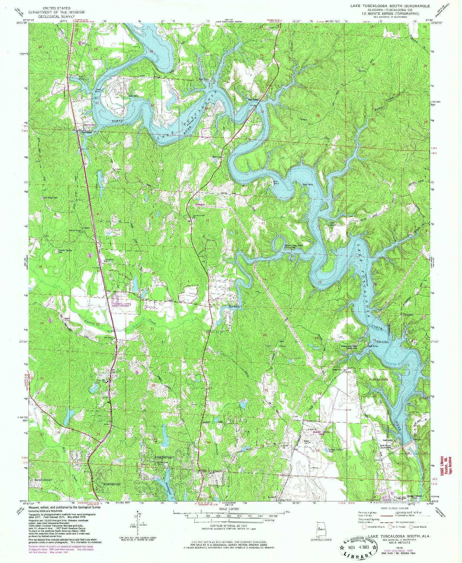USGS 1:24000-SCALE QUADRANGLE FOR LAKE TUSCALOOSA SOUTH, AL 1978