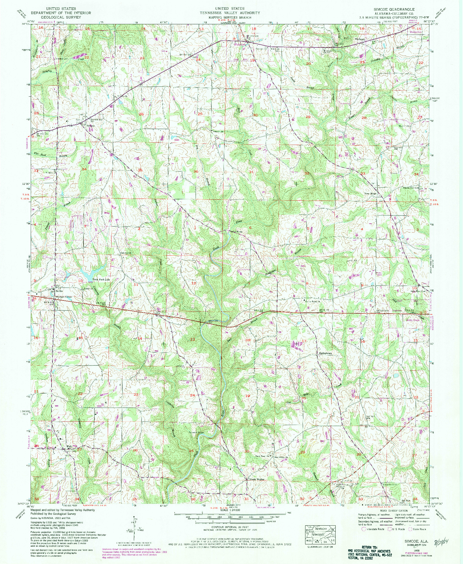 USGS 1:24000-SCALE QUADRANGLE FOR SIMCOE, AL 1958