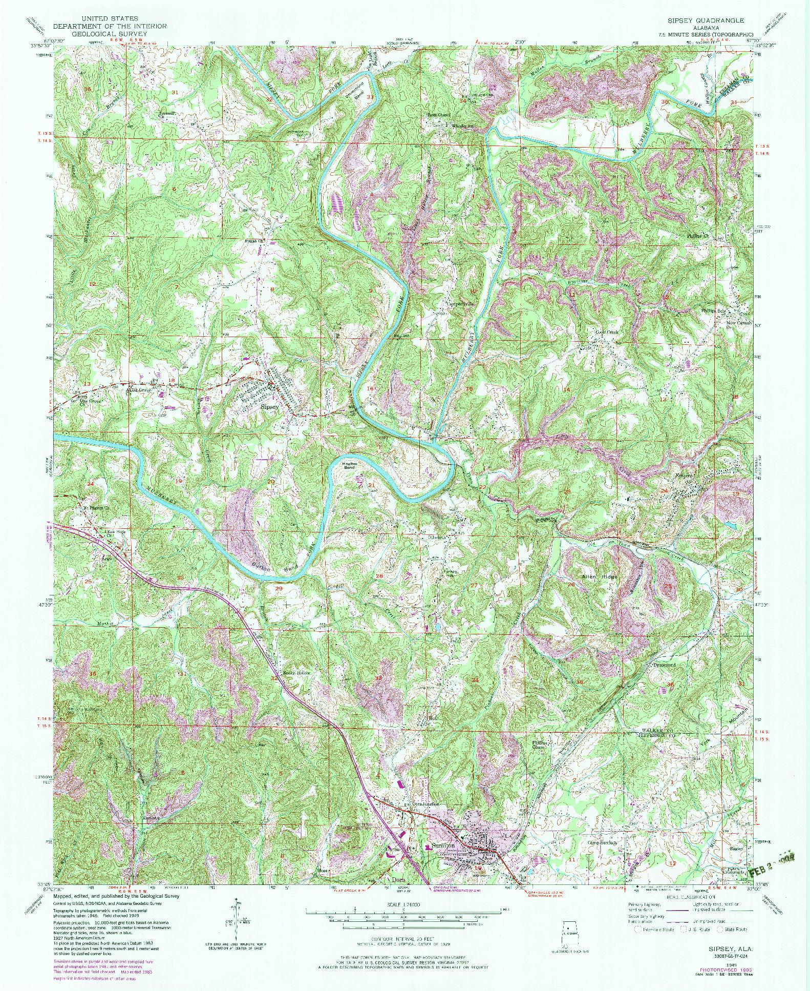 USGS 1:24000-SCALE QUADRANGLE FOR SIPSEY, AL 1949