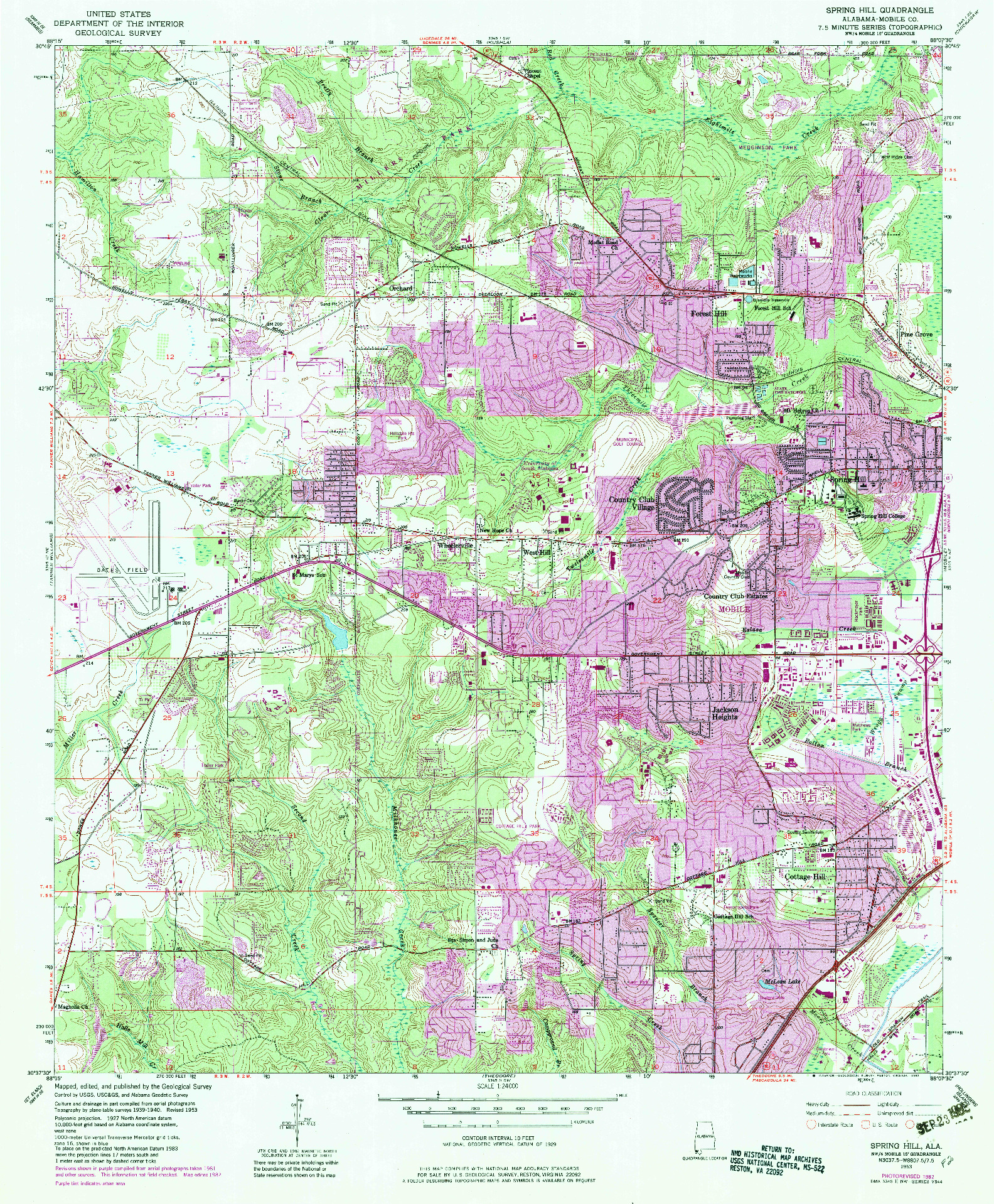 USGS 1:24000-SCALE QUADRANGLE FOR SPRING HILL, AL 1953