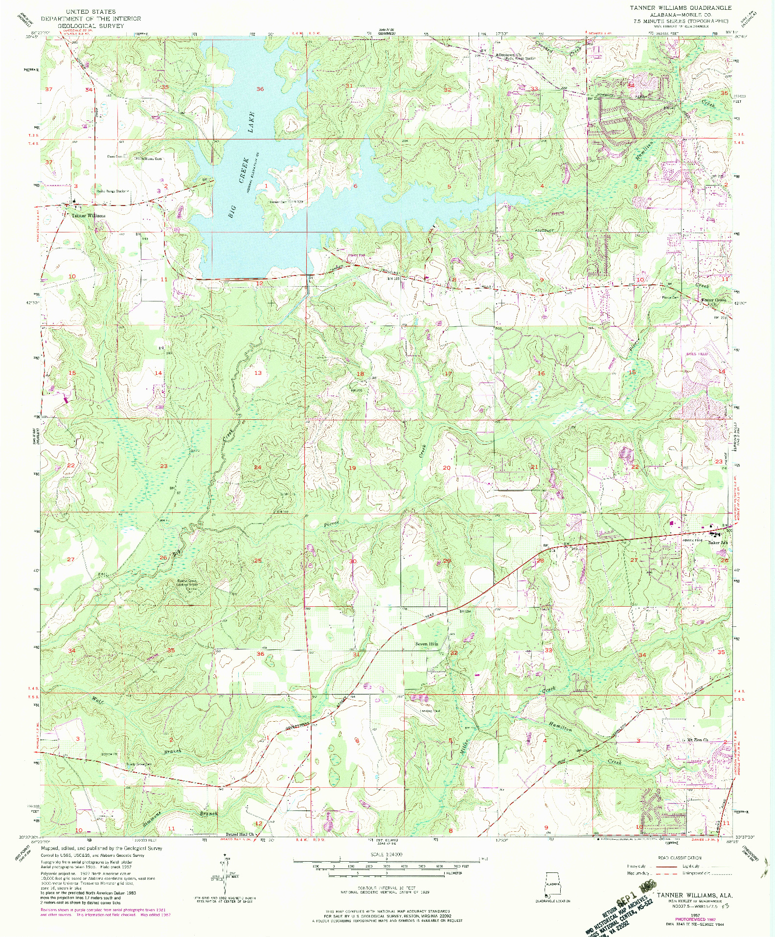 USGS 1:24000-SCALE QUADRANGLE FOR TANNER WILLIAMS, AL 1957