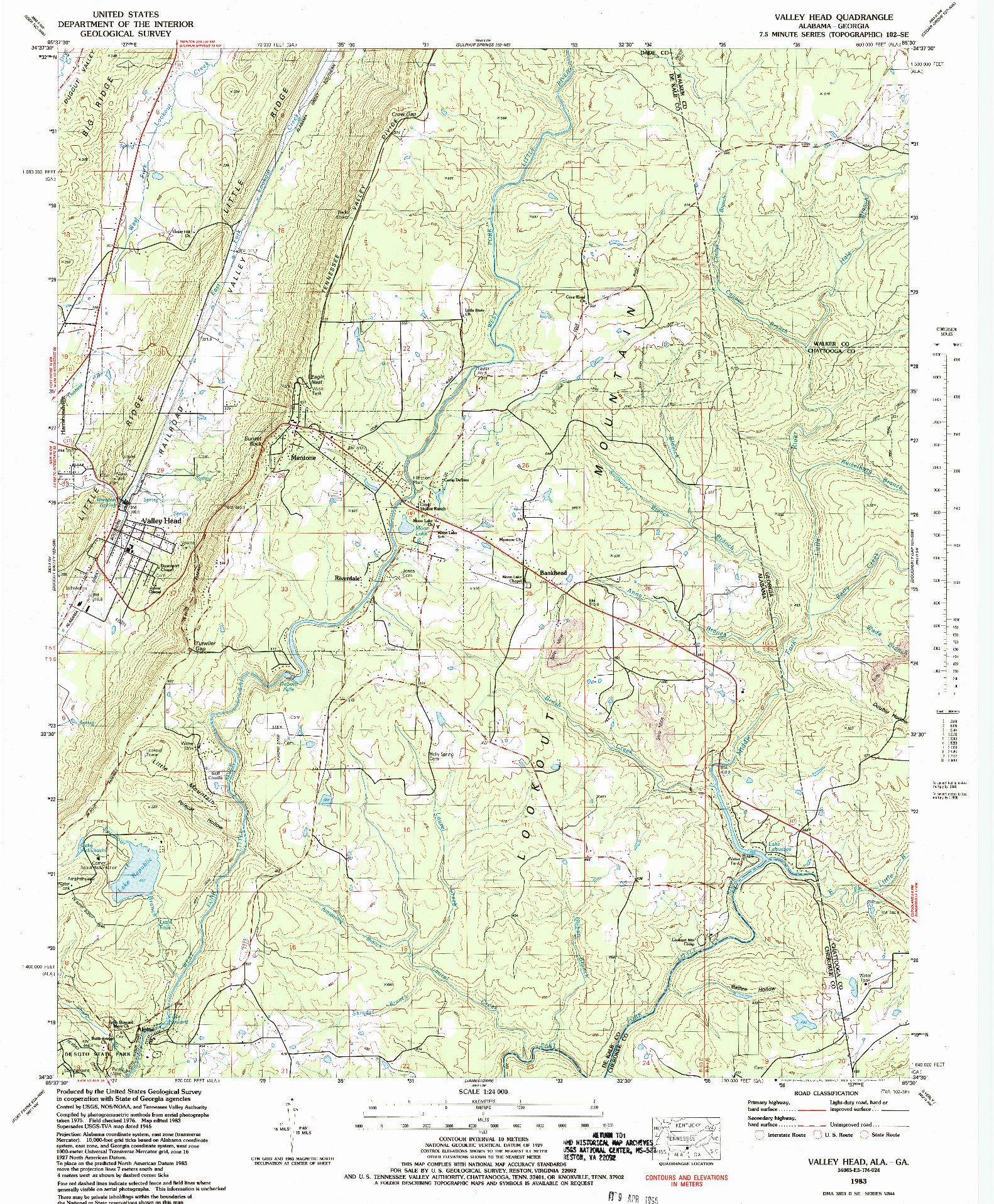 USGS 1:24000-SCALE QUADRANGLE FOR VALLEY HEAD, AL 1983