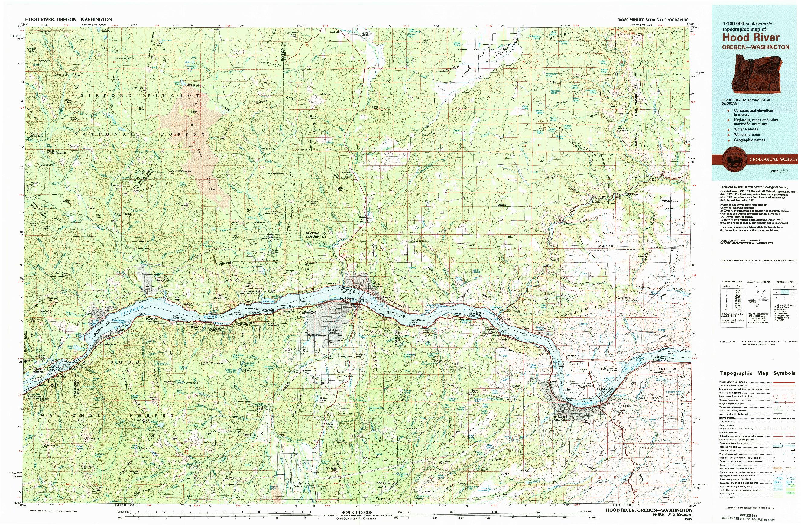 USGS 1:100000-SCALE QUADRANGLE FOR HOOD RIVER, OR 1982