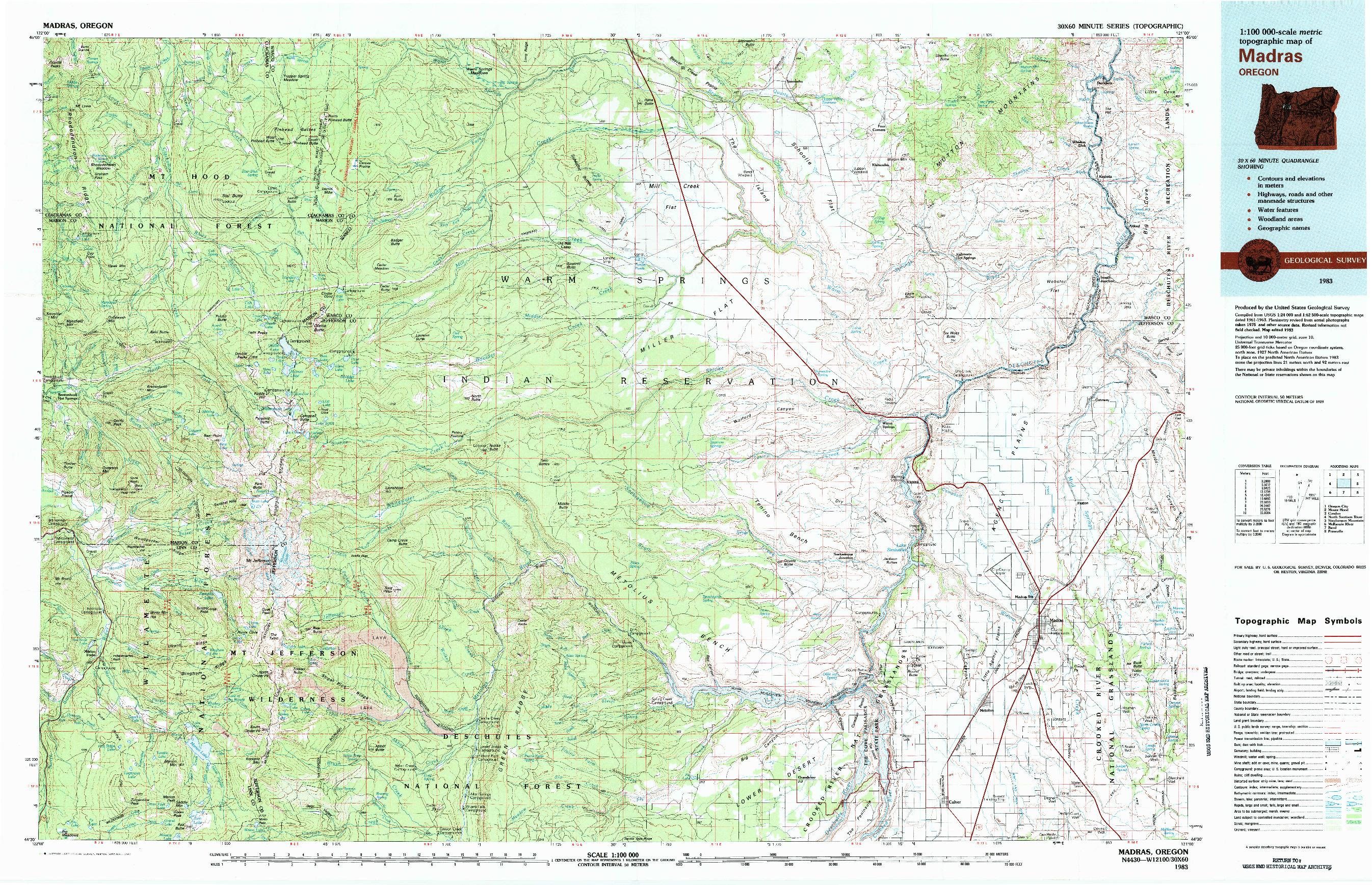 USGS 1:100000-SCALE QUADRANGLE FOR MADRAS, OR 1983
