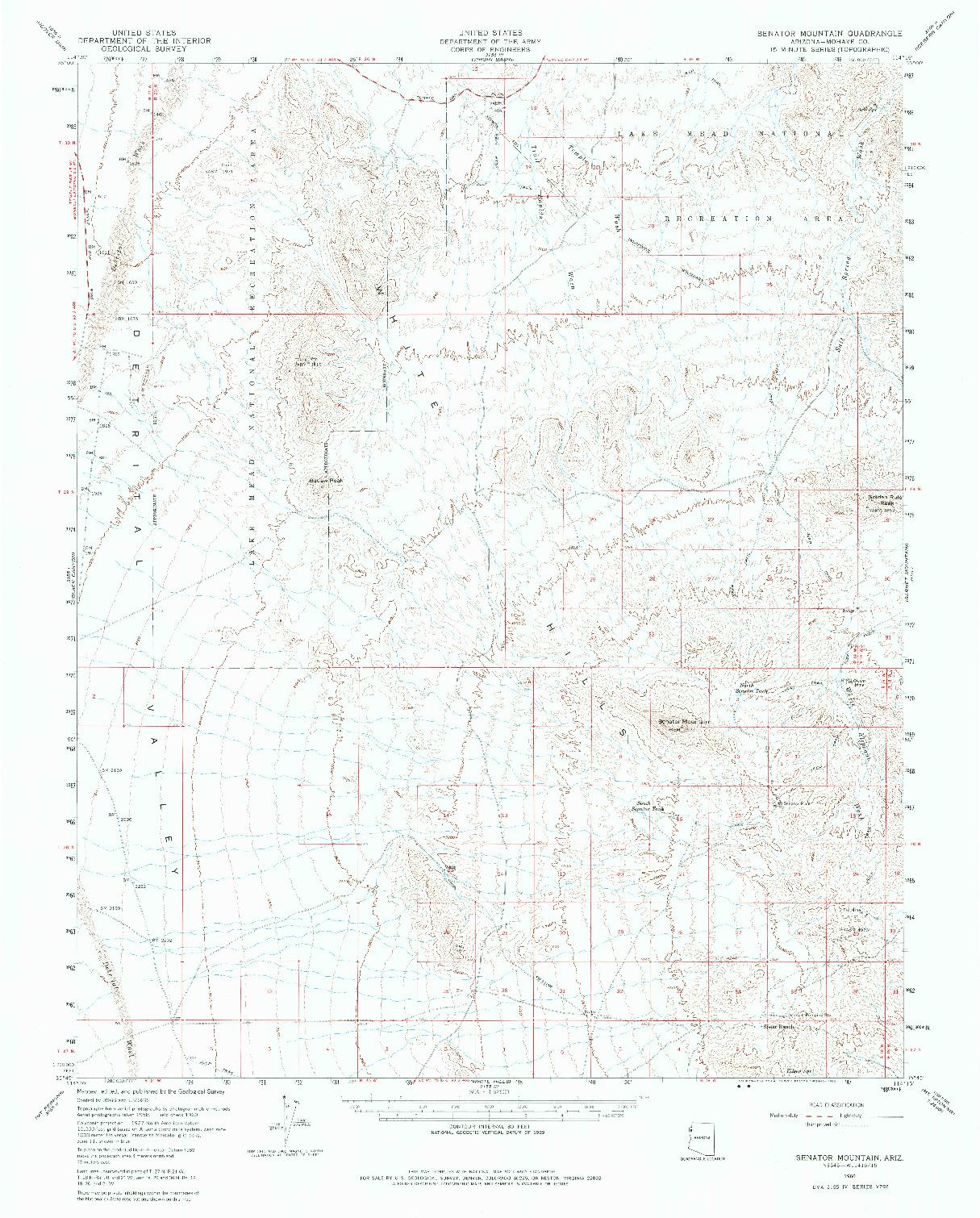 USGS 1:62500-SCALE QUADRANGLE FOR SENATOR MOUNTAIN, AZ 1960