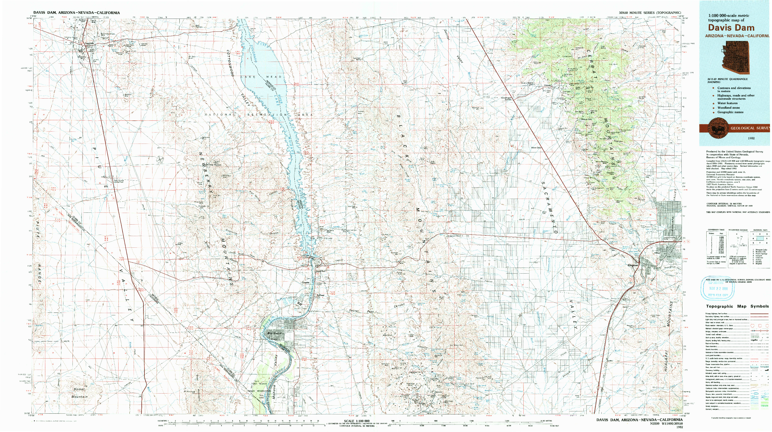 USGS 1:100000-SCALE QUADRANGLE FOR DAVIS DAM, AZ 1982