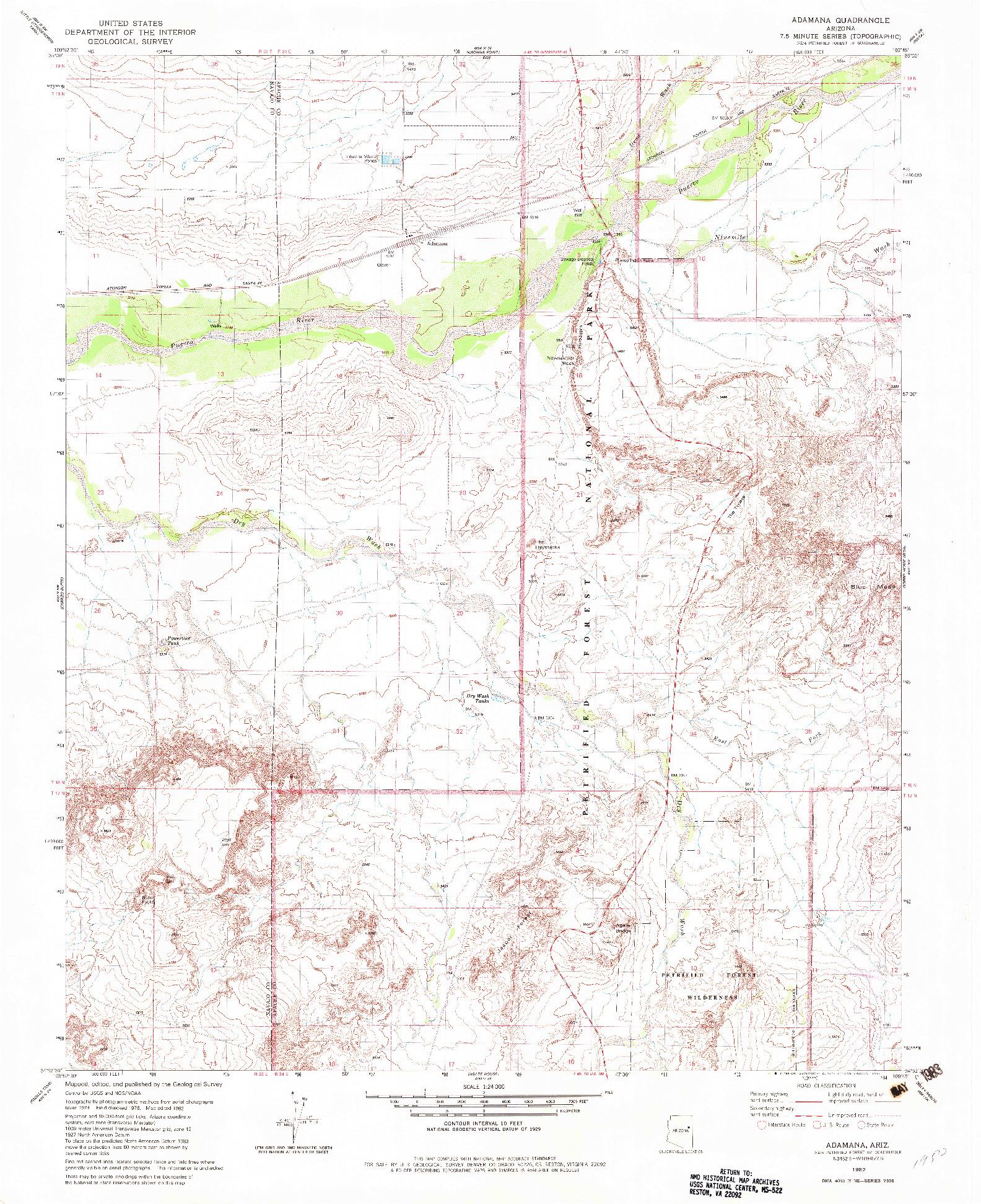 USGS 1:24000-SCALE QUADRANGLE FOR ADAMANA, AZ 1982