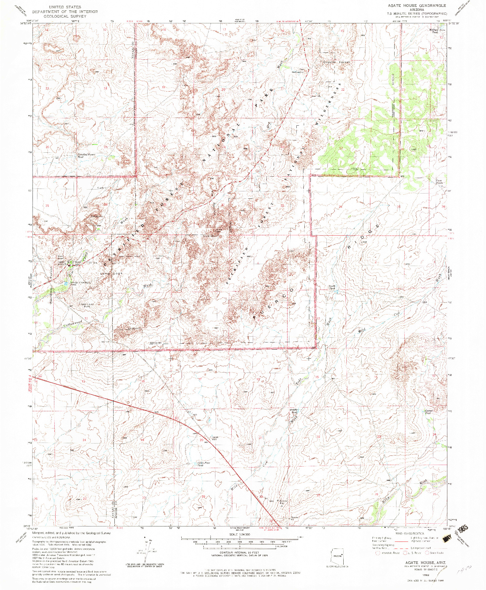 USGS 1:24000-SCALE QUADRANGLE FOR AGATE HOUSE, AZ 1982
