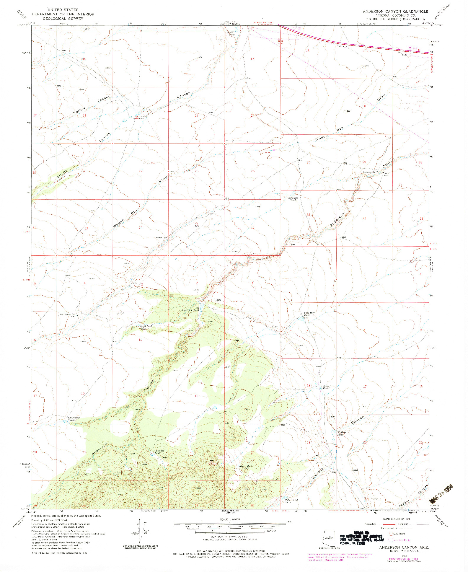 USGS 1:24000-SCALE QUADRANGLE FOR ANDERSON CANYON, AZ 1968