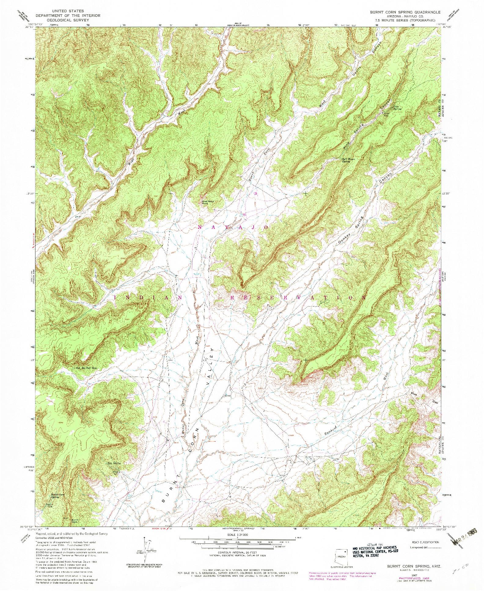 USGS 1:24000-SCALE QUADRANGLE FOR BURNT CORN SPRING, AZ 1967