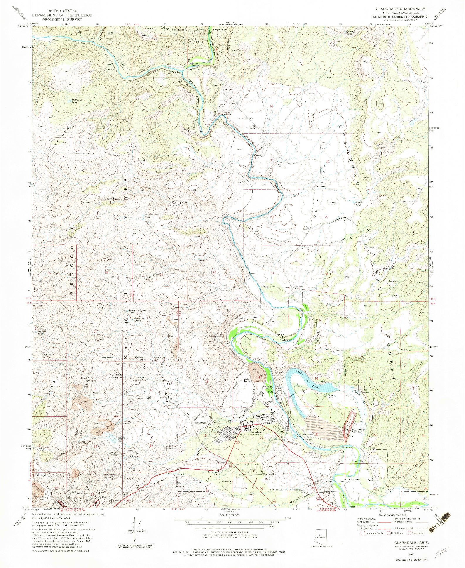 USGS 1:24000-SCALE QUADRANGLE FOR CLARKDALE, AZ 1973