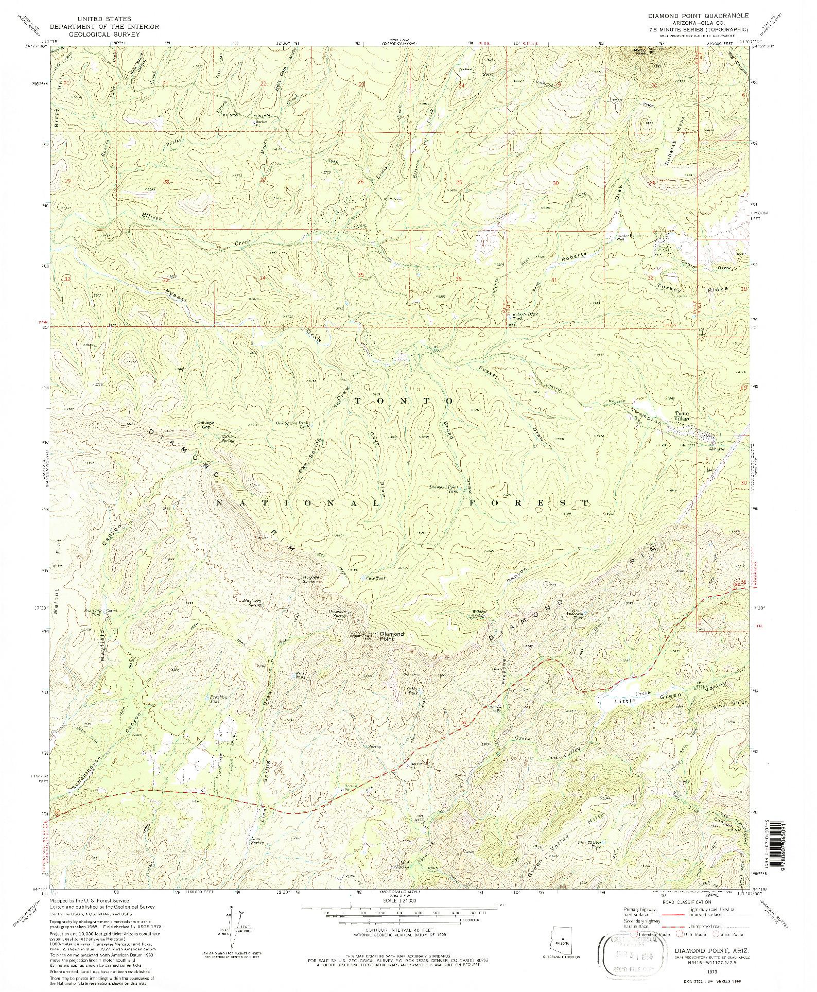 USGS 1:24000-SCALE QUADRANGLE FOR DIAMOND POINT, AZ 1973