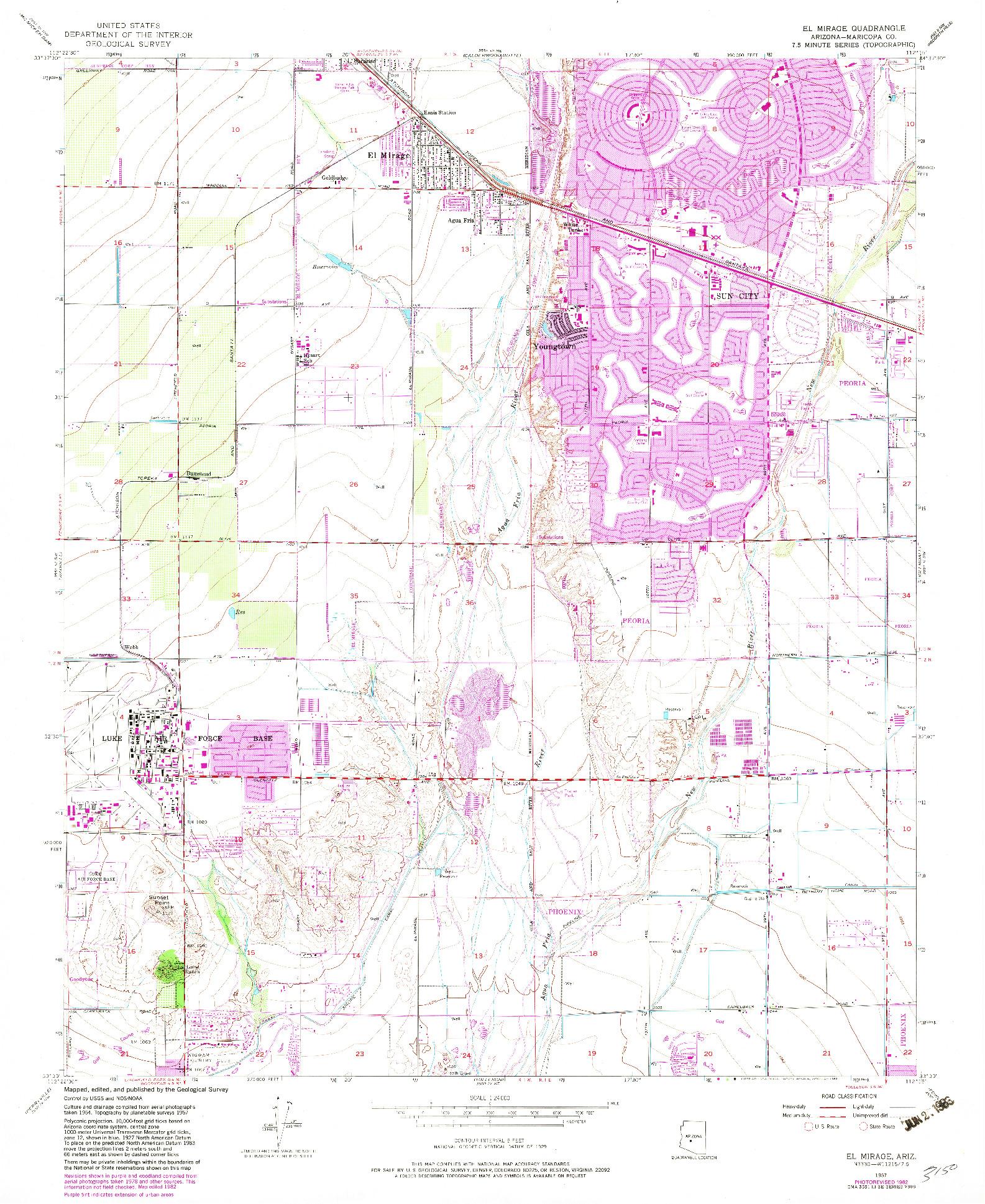 USGS 1:24000-SCALE QUADRANGLE FOR EL MIRAGE, AZ 1957