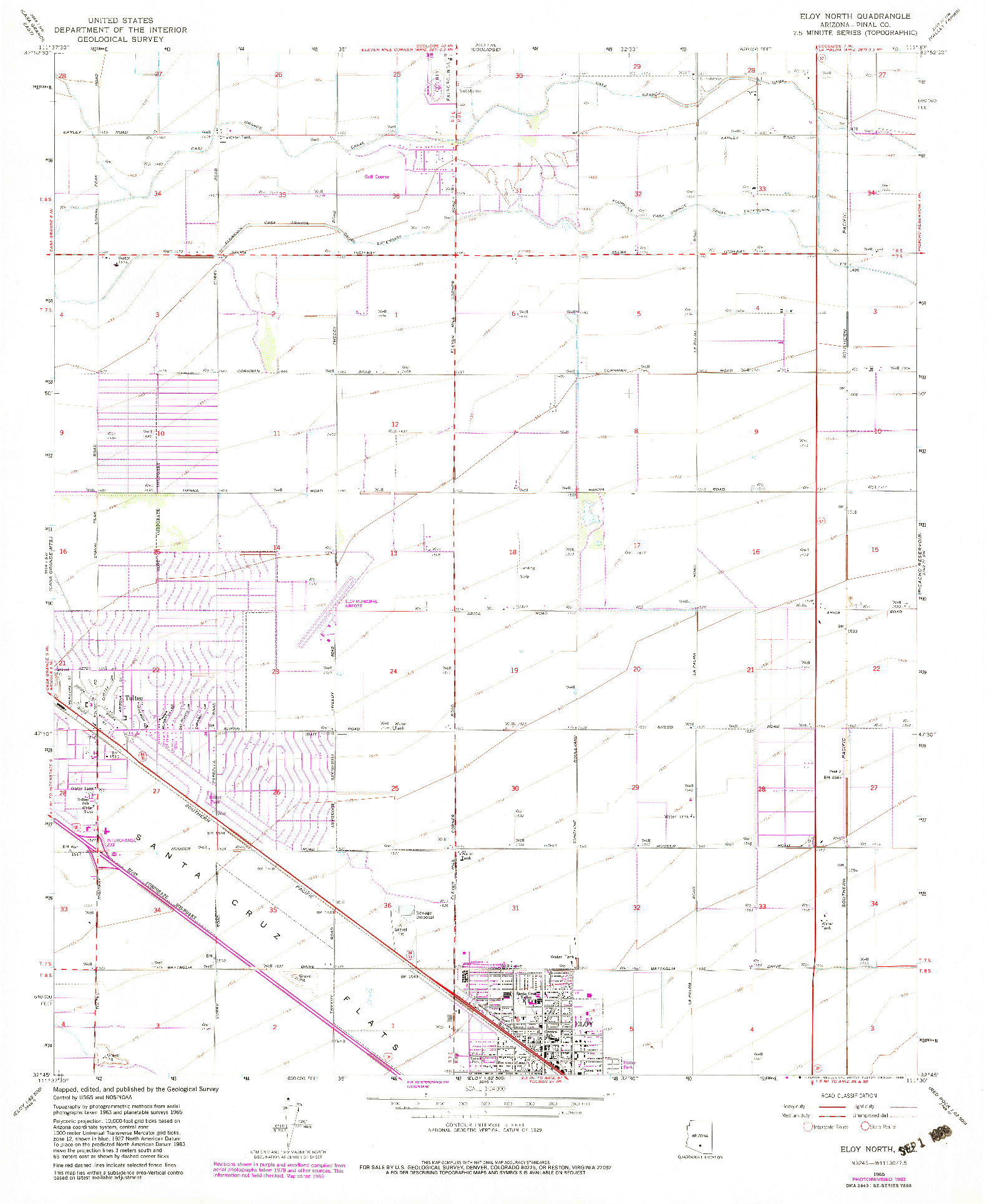 USGS 1:24000-SCALE QUADRANGLE FOR ELOY NORTH, AZ 1965