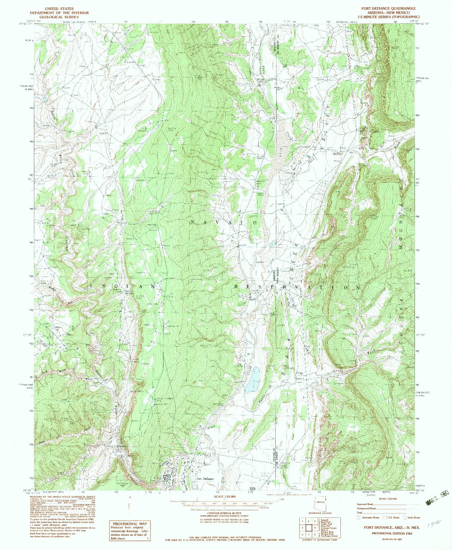 USGS 1:24000-SCALE QUADRANGLE FOR FORT DEFIANCE, AZ 1982