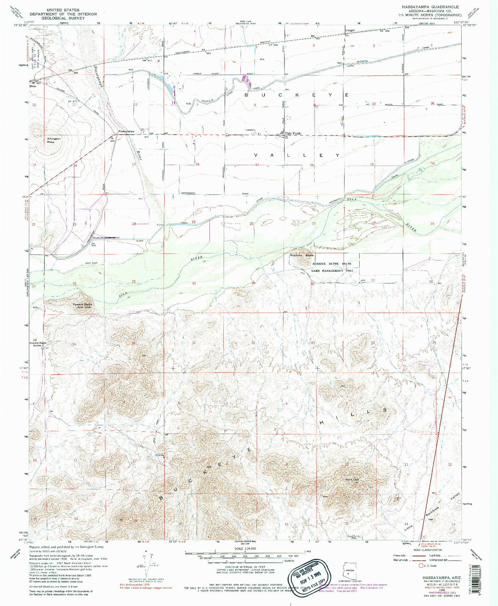 USGS 1:24000-SCALE QUADRANGLE FOR HASSAYAMPA, AZ 1958