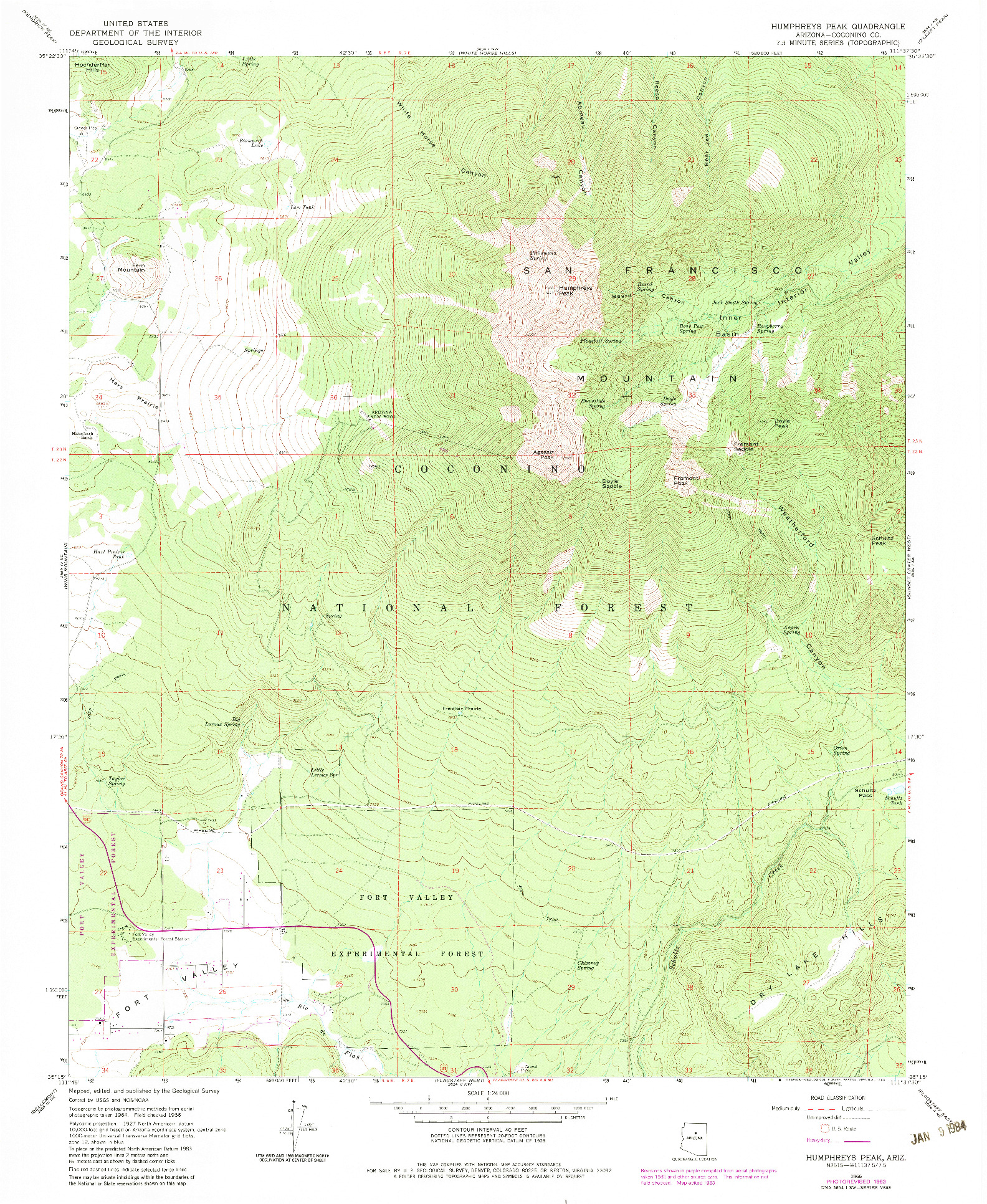 USGS 1:24000-SCALE QUADRANGLE FOR HUMPHREYS PEAK, AZ 1966