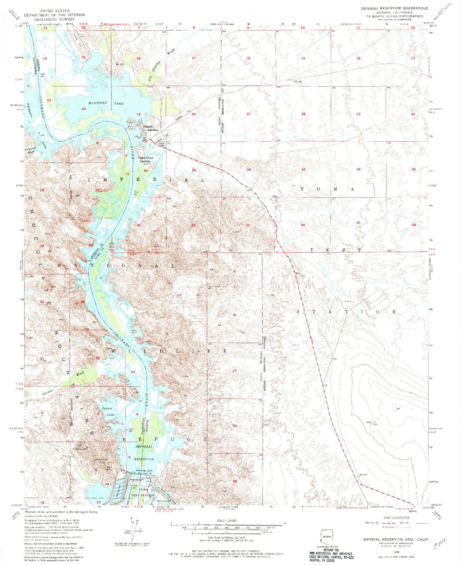 USGS 1:24000-SCALE QUADRANGLE FOR IMPERIAL RESERVOIR, AZ 1955
