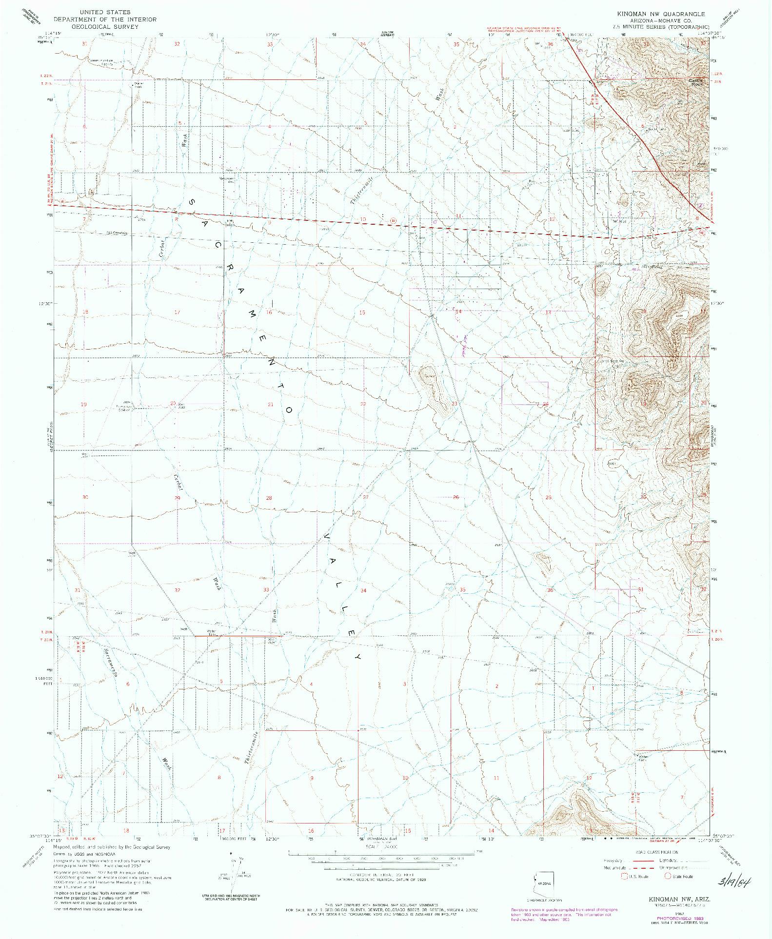 USGS 1:24000-SCALE QUADRANGLE FOR KINGMAN NW, AZ 1967