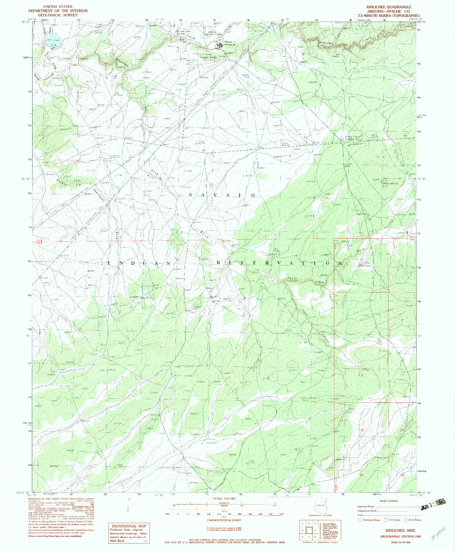 USGS 1:24000-SCALE QUADRANGLE FOR KINLICHEE, AZ 1983
