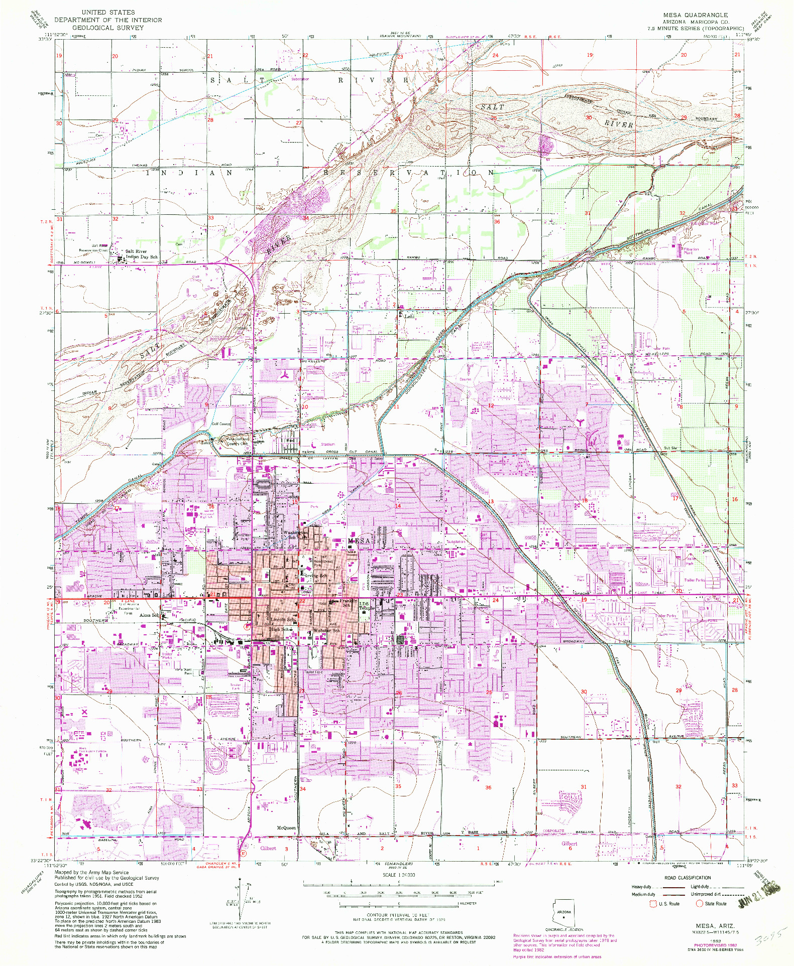 USGS 1:24000-SCALE QUADRANGLE FOR MESA, AZ 1952