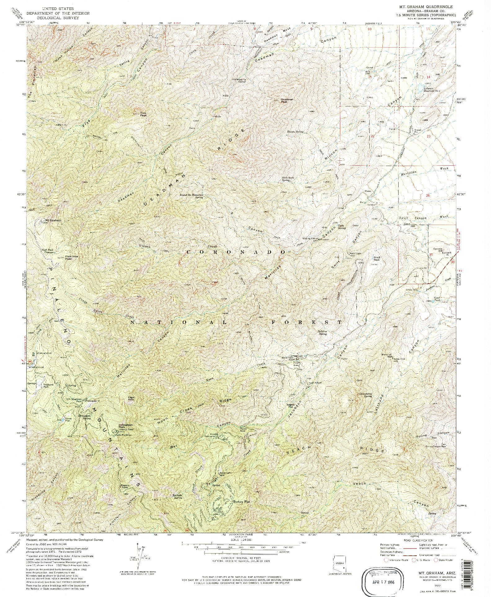 USGS 1:24000-SCALE QUADRANGLE FOR MT. GRAHAM, AZ 1972