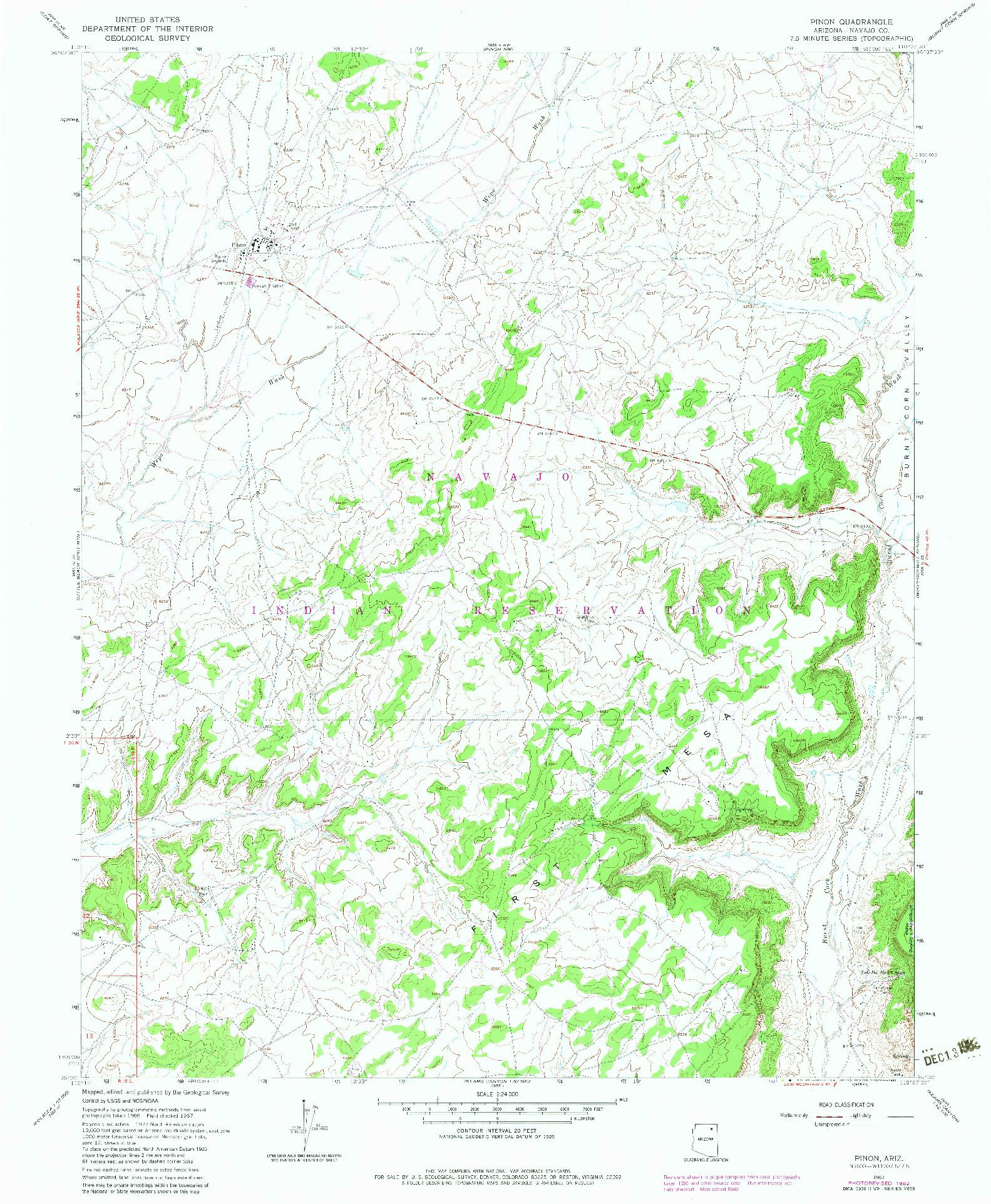 USGS 1:24000-SCALE QUADRANGLE FOR PINON, AZ 1967