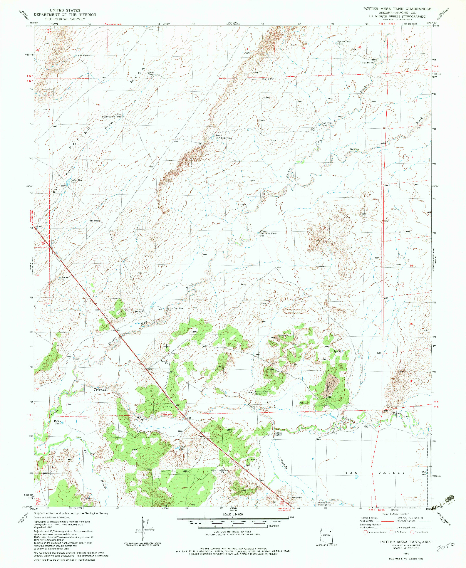 USGS 1:24000-SCALE QUADRANGLE FOR POTTER MESA TANK, AZ 1982