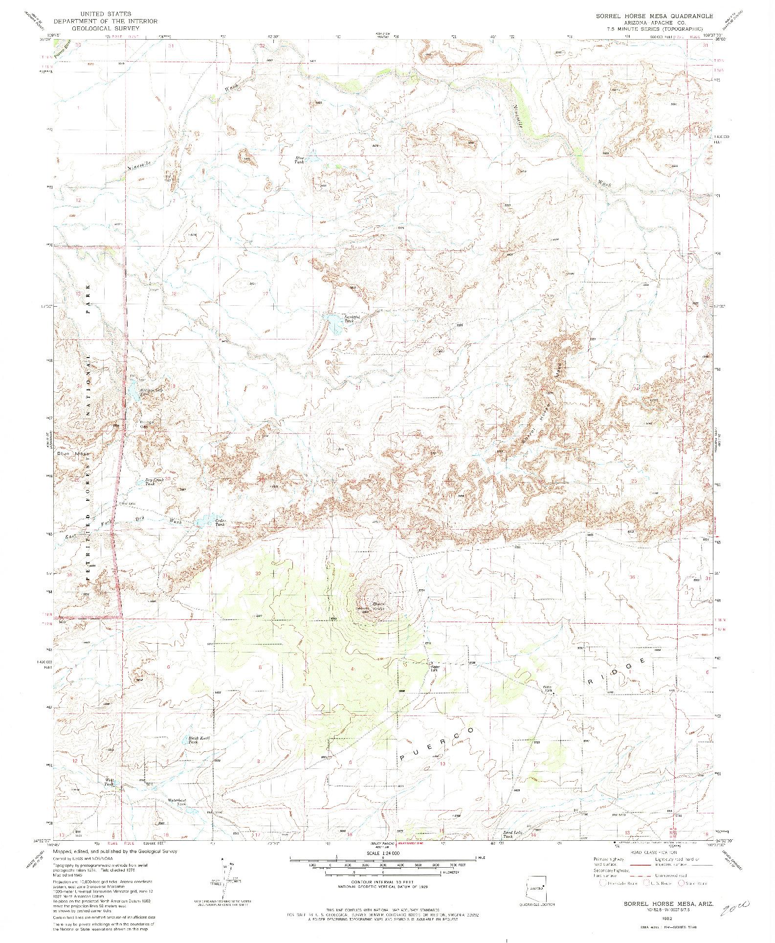 USGS 1:24000-SCALE QUADRANGLE FOR SORREL HORSE MESA, AZ 1982