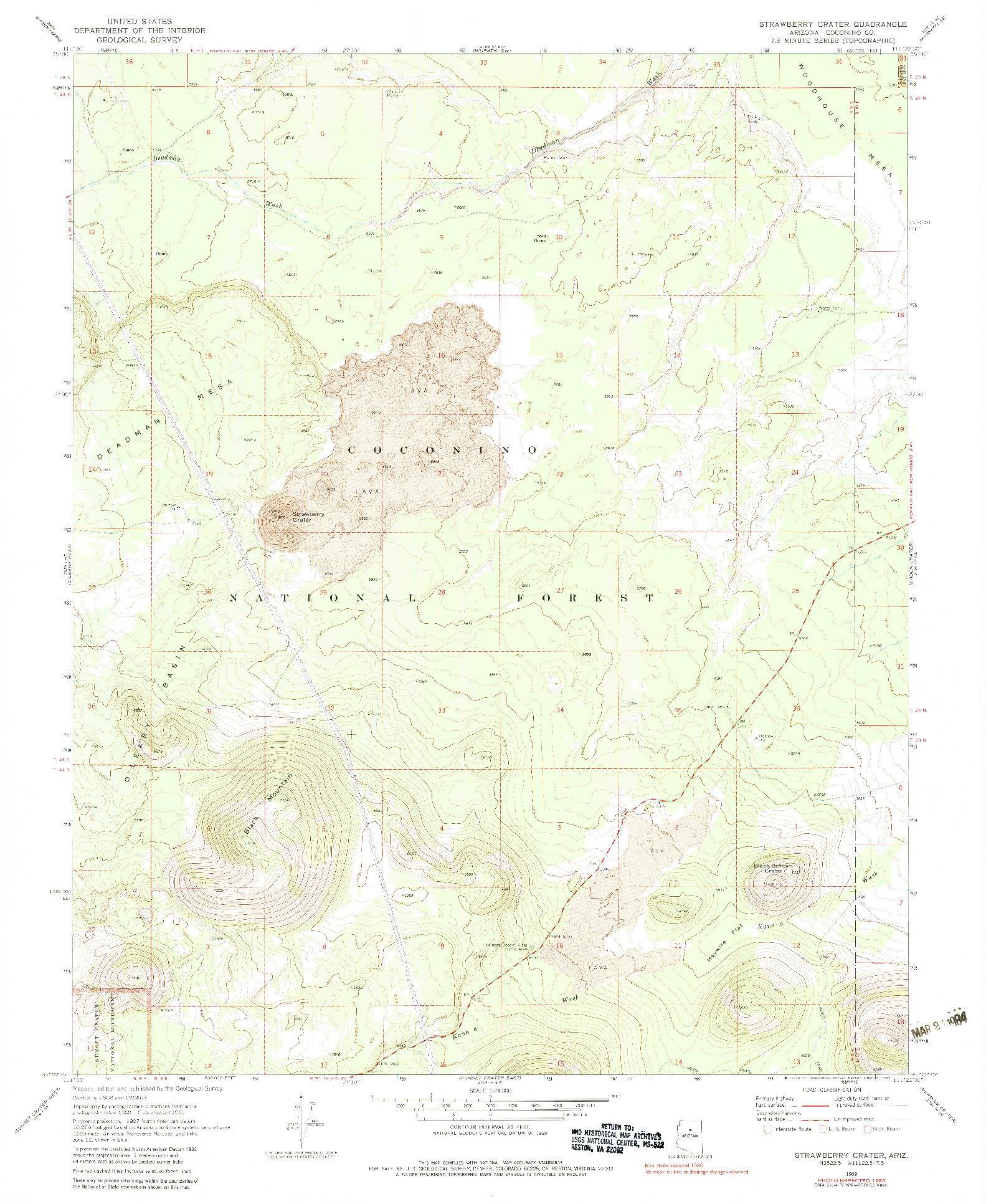 USGS 1:24000-SCALE QUADRANGLE FOR STRAWBERRY CRATER, AZ 1969