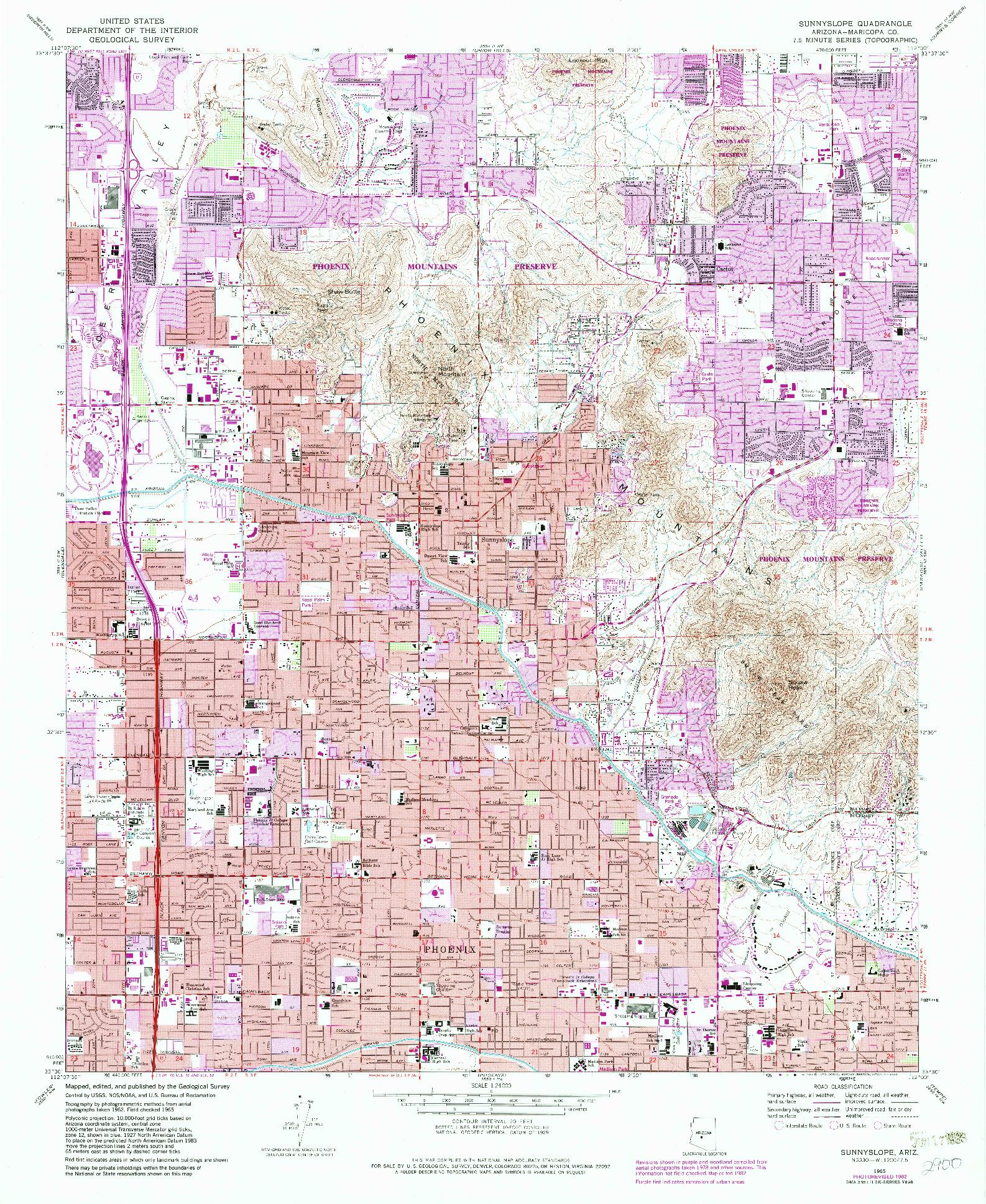 USGS 1:24000-SCALE QUADRANGLE FOR SUNNYSLOPE, AZ 1965