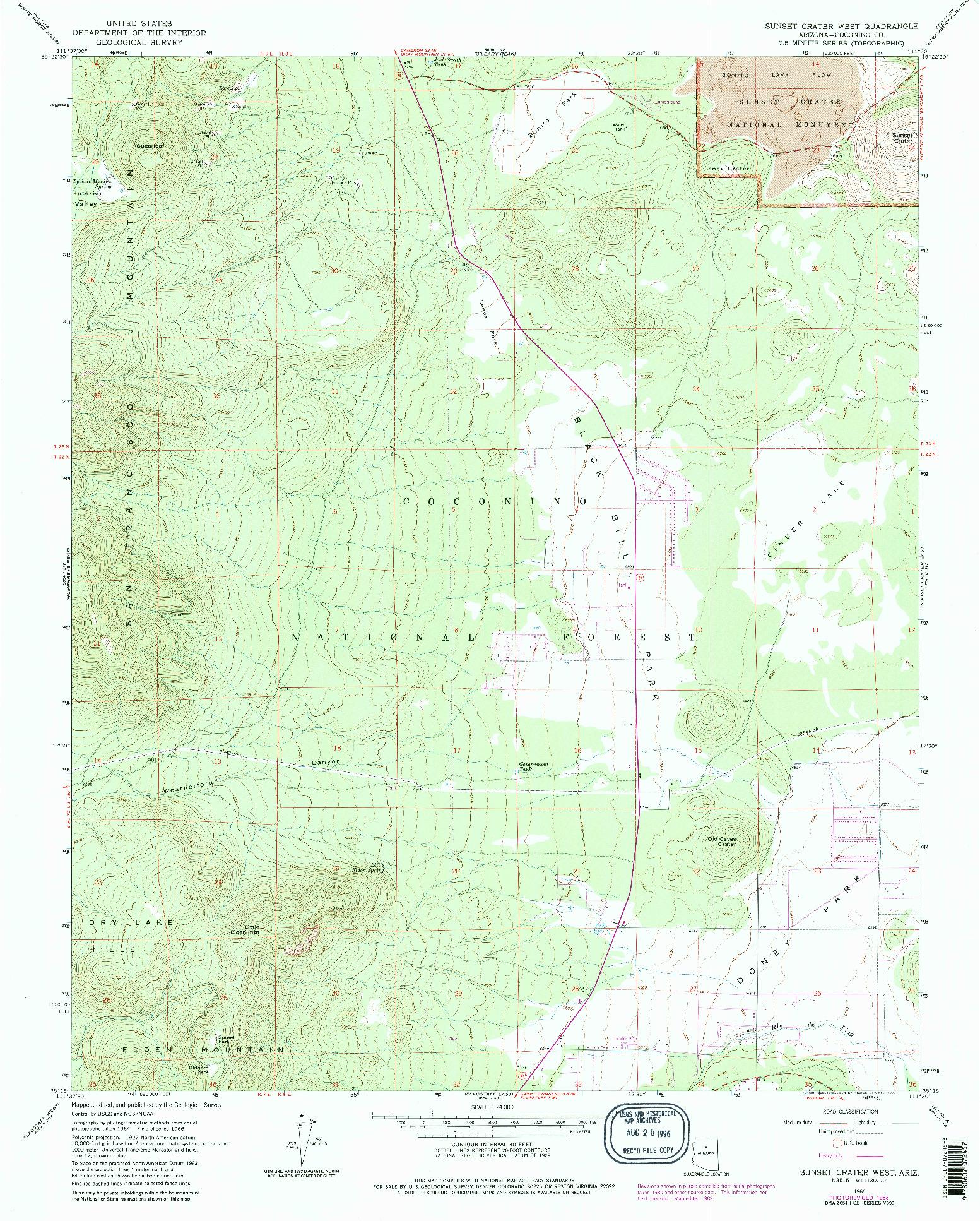 USGS 1:24000-SCALE QUADRANGLE FOR SUNSET CRATER WEST, AZ 1966