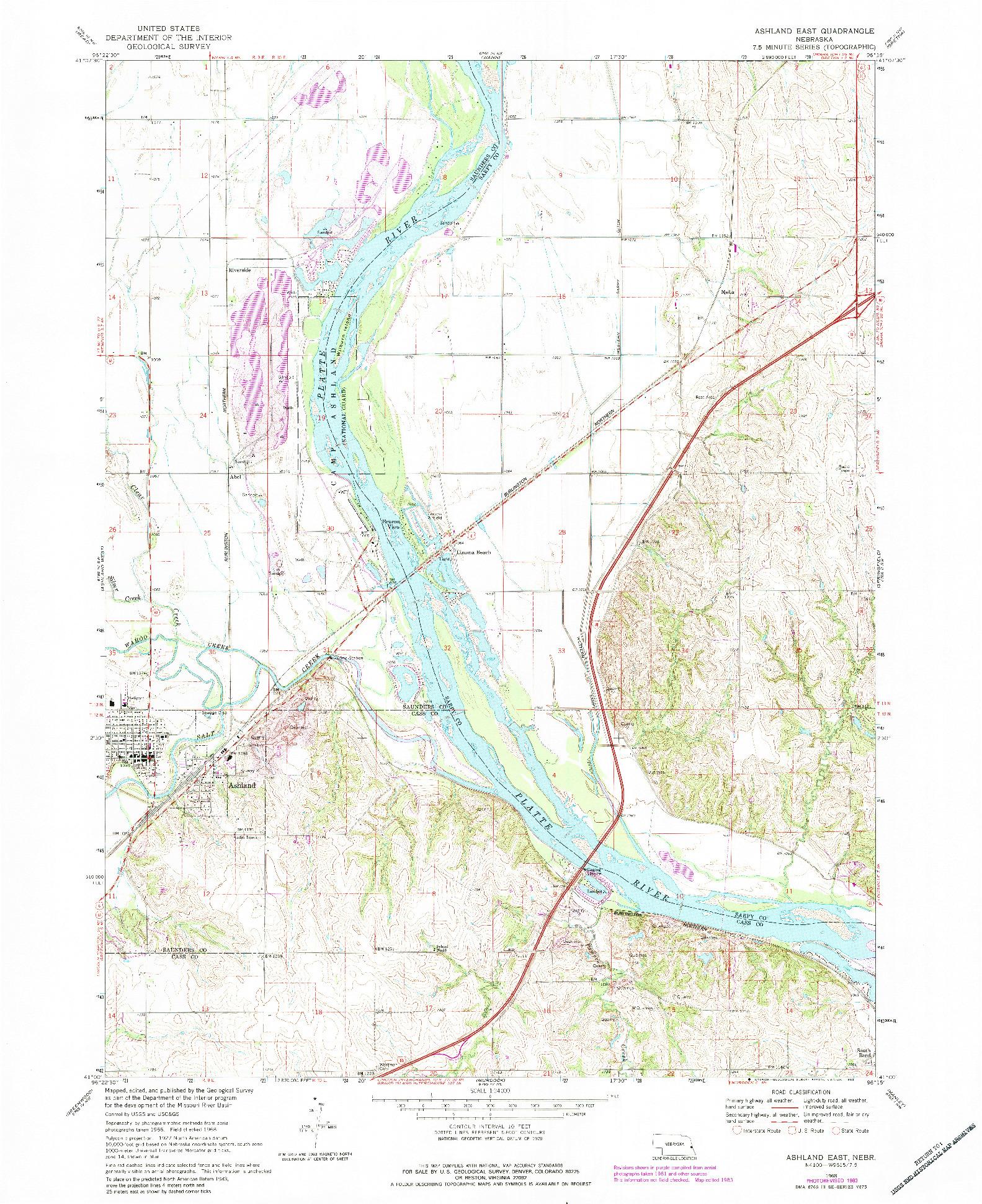 USGS 1:24000-SCALE QUADRANGLE FOR ASHLAND EAST, NE 1968