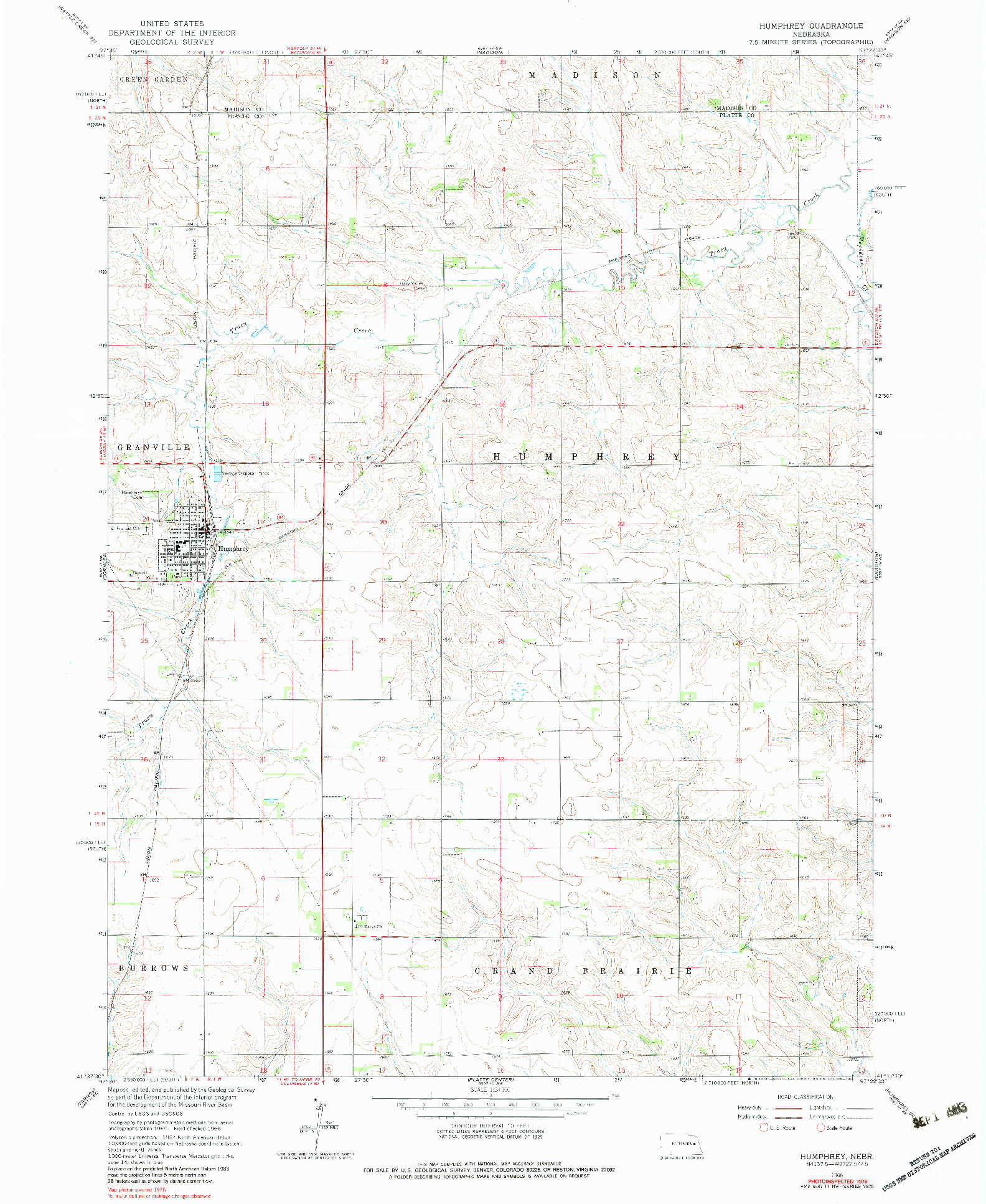 USGS 1:24000-SCALE QUADRANGLE FOR HUMPHREY, NE 1966