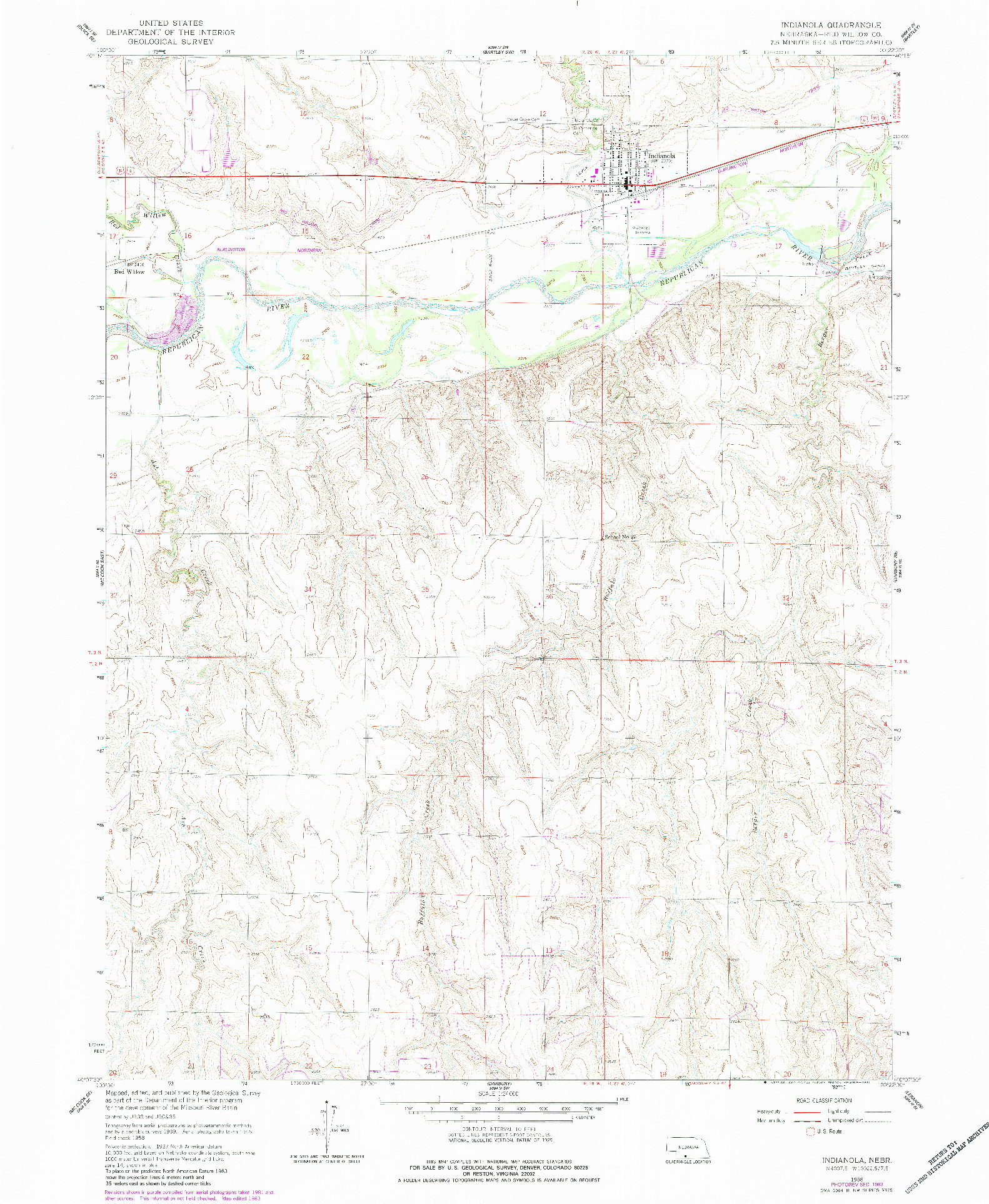 USGS 1:24000-SCALE QUADRANGLE FOR INDIANOLA, NE 1958