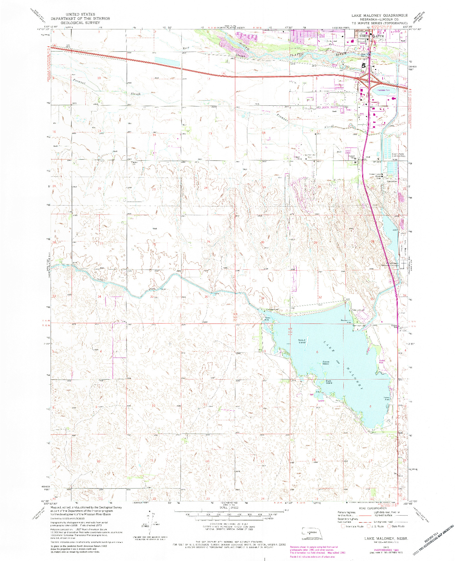 USGS 1:24000-SCALE QUADRANGLE FOR LAKE MALONEY, NE 1970