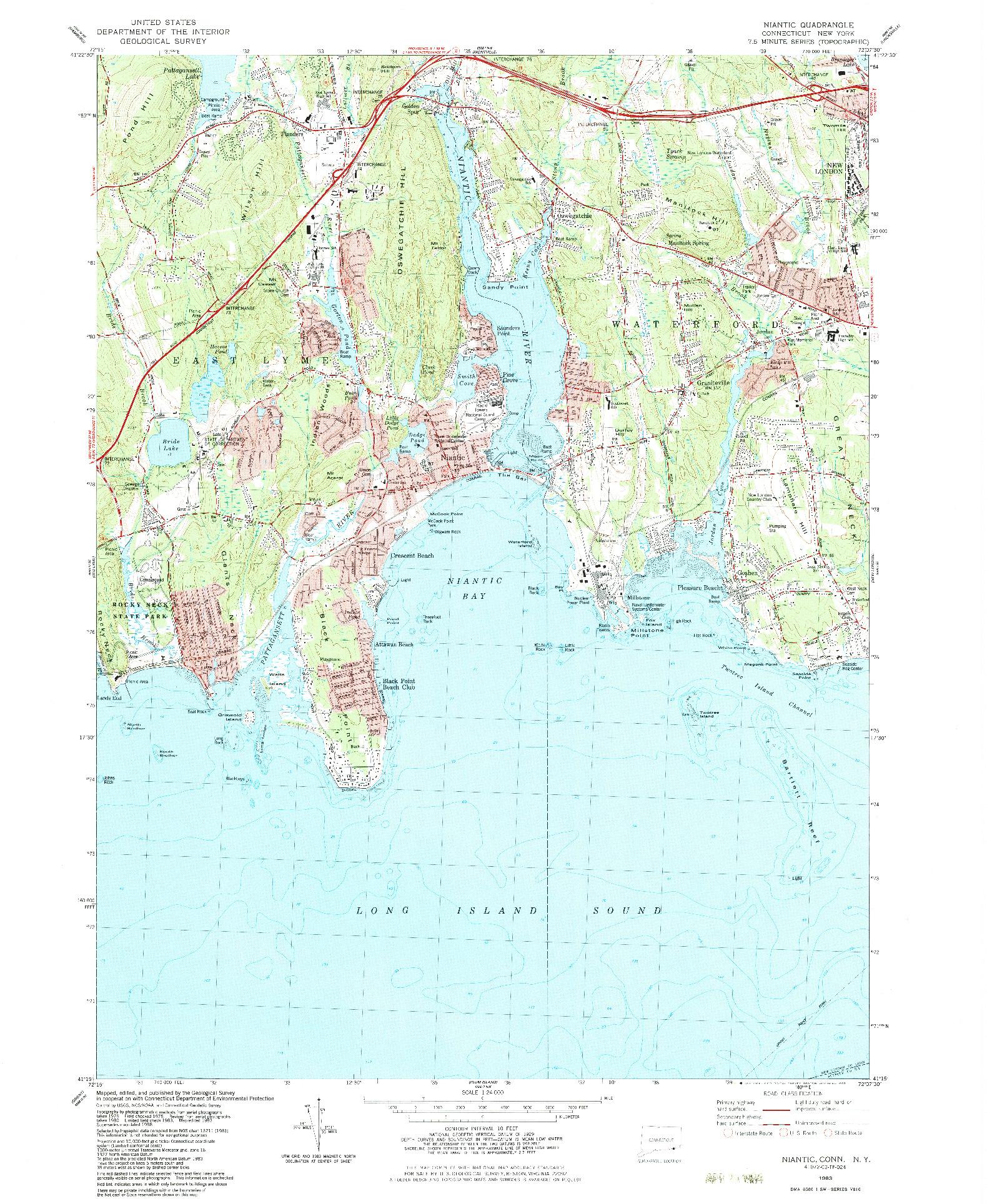 USGS 1:24000-SCALE QUADRANGLE FOR NIANTIC, CT 1983