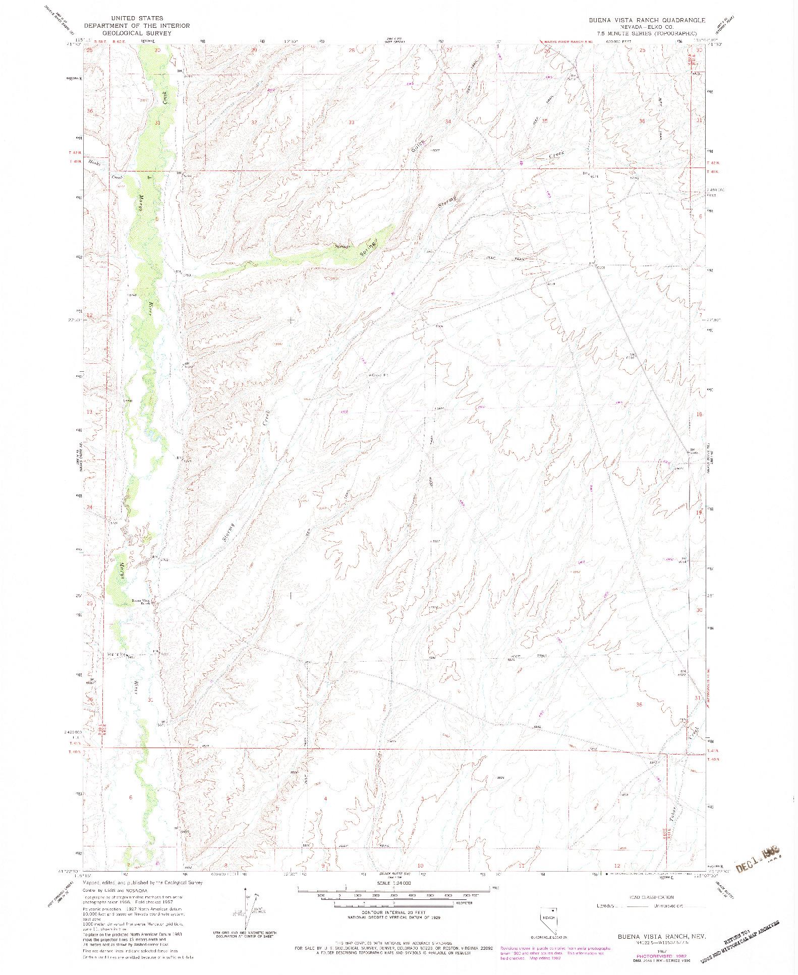 USGS 1:24000-SCALE QUADRANGLE FOR BUENA VISTA RANCH, NV 1967
