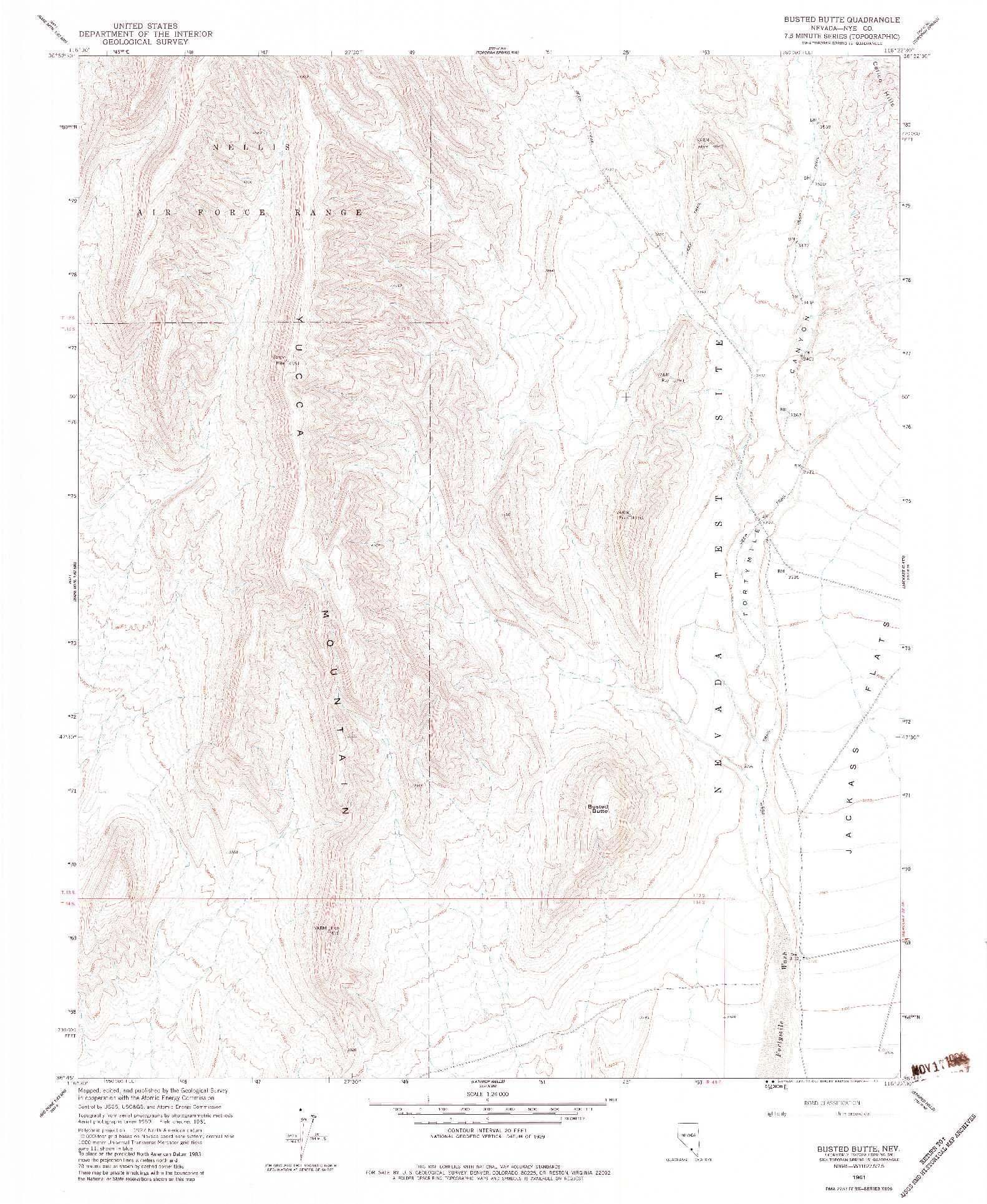 USGS 1:24000-SCALE QUADRANGLE FOR BUSTED BUTTE, NV 1961