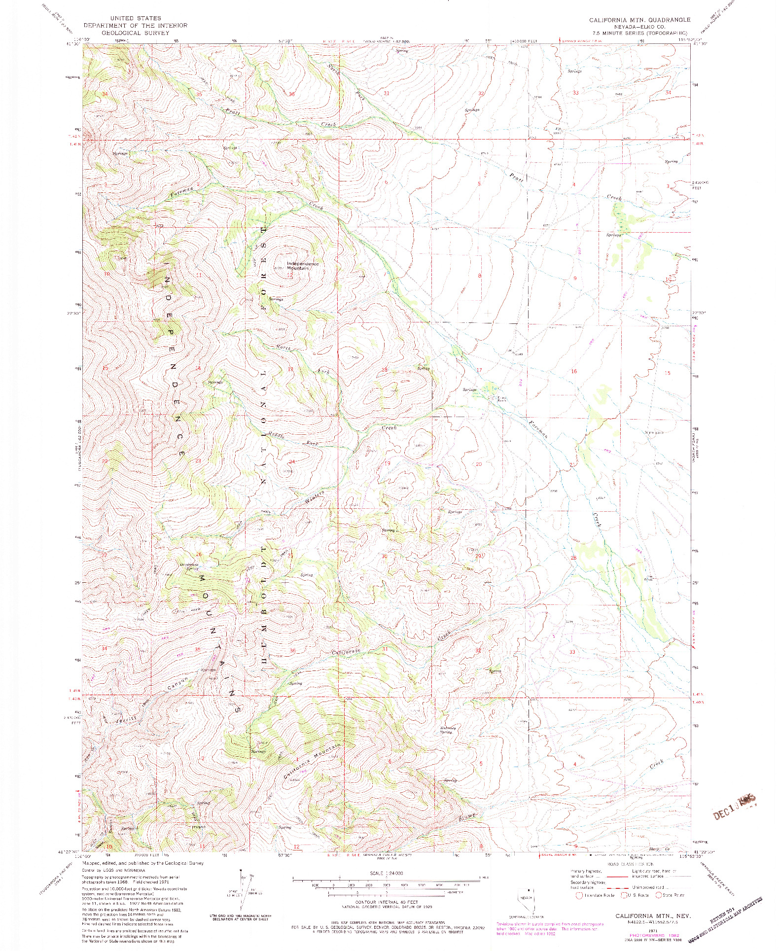 USGS 1:24000-SCALE QUADRANGLE FOR CALIFORNIA MTN., NV 1971