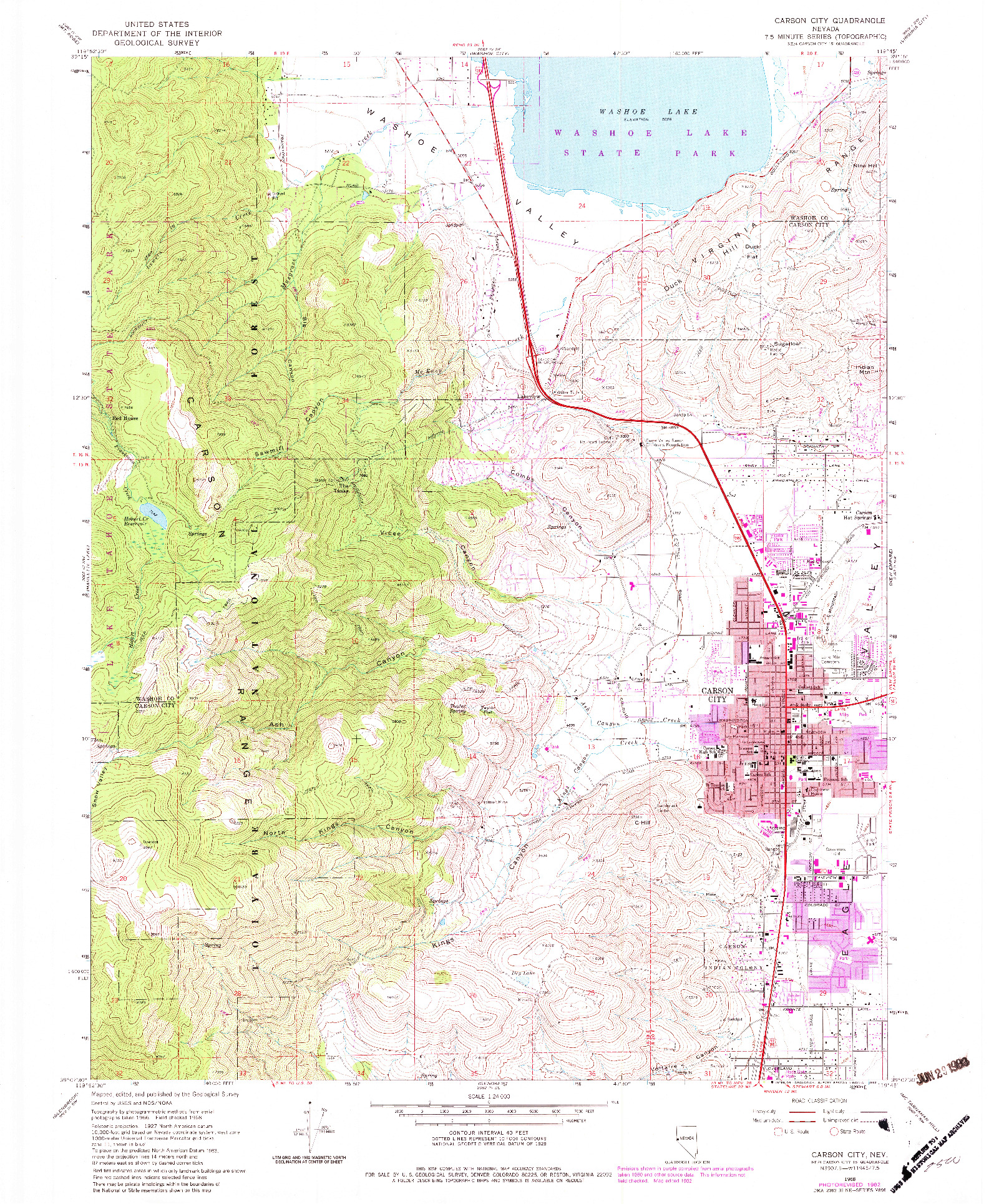 USGS 1:24000-SCALE QUADRANGLE FOR CARSON CITY, NV 1968