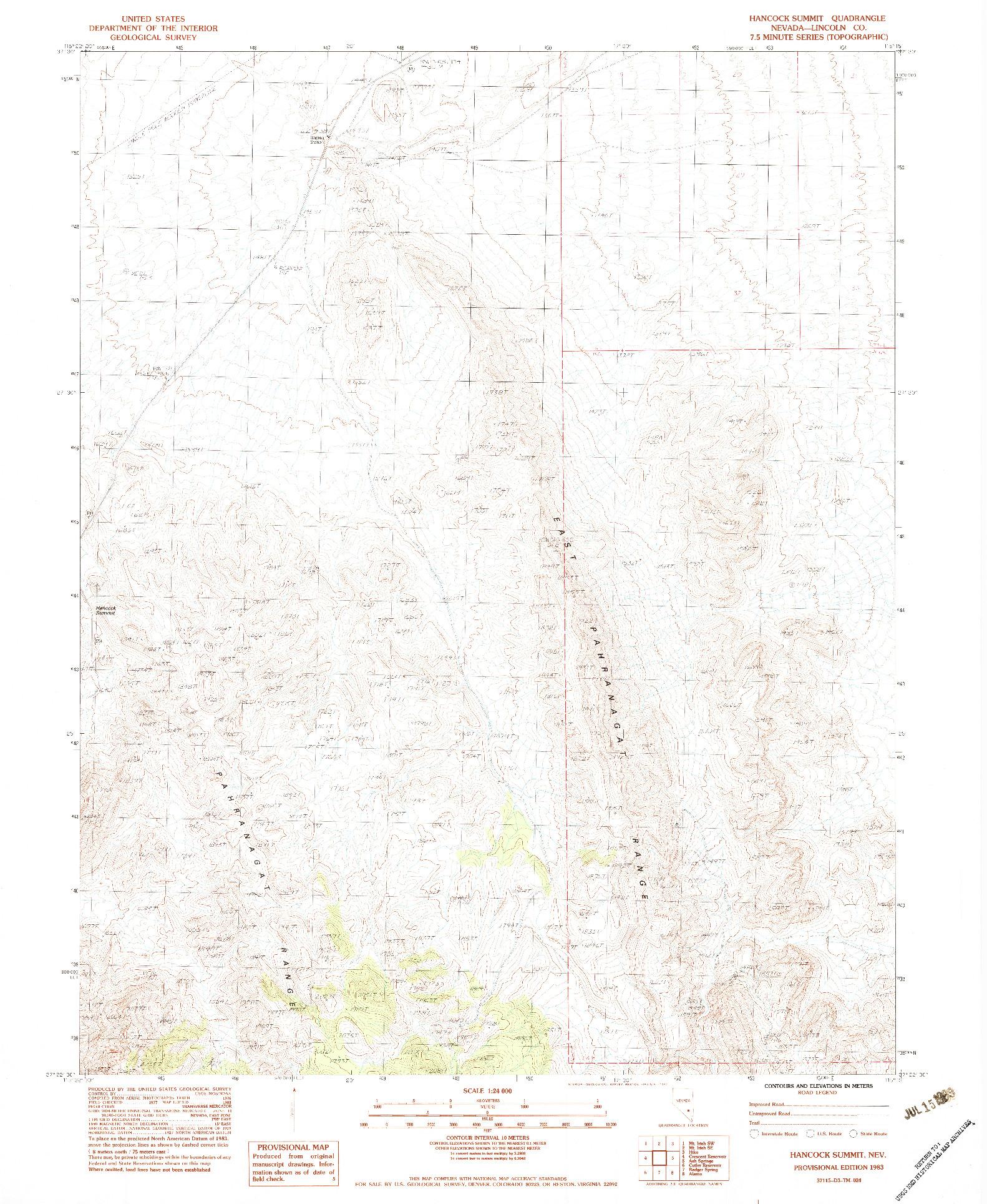 USGS 1:24000-SCALE QUADRANGLE FOR HANCOCK SUMMIT, NV 1983